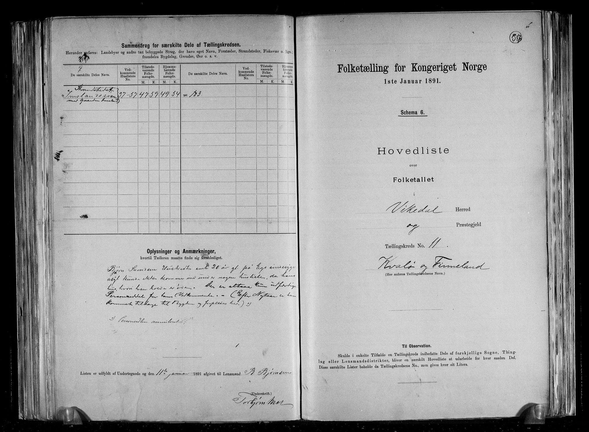 RA, Folketelling 1891 for 1157 Vikedal herred, 1891, s. 25