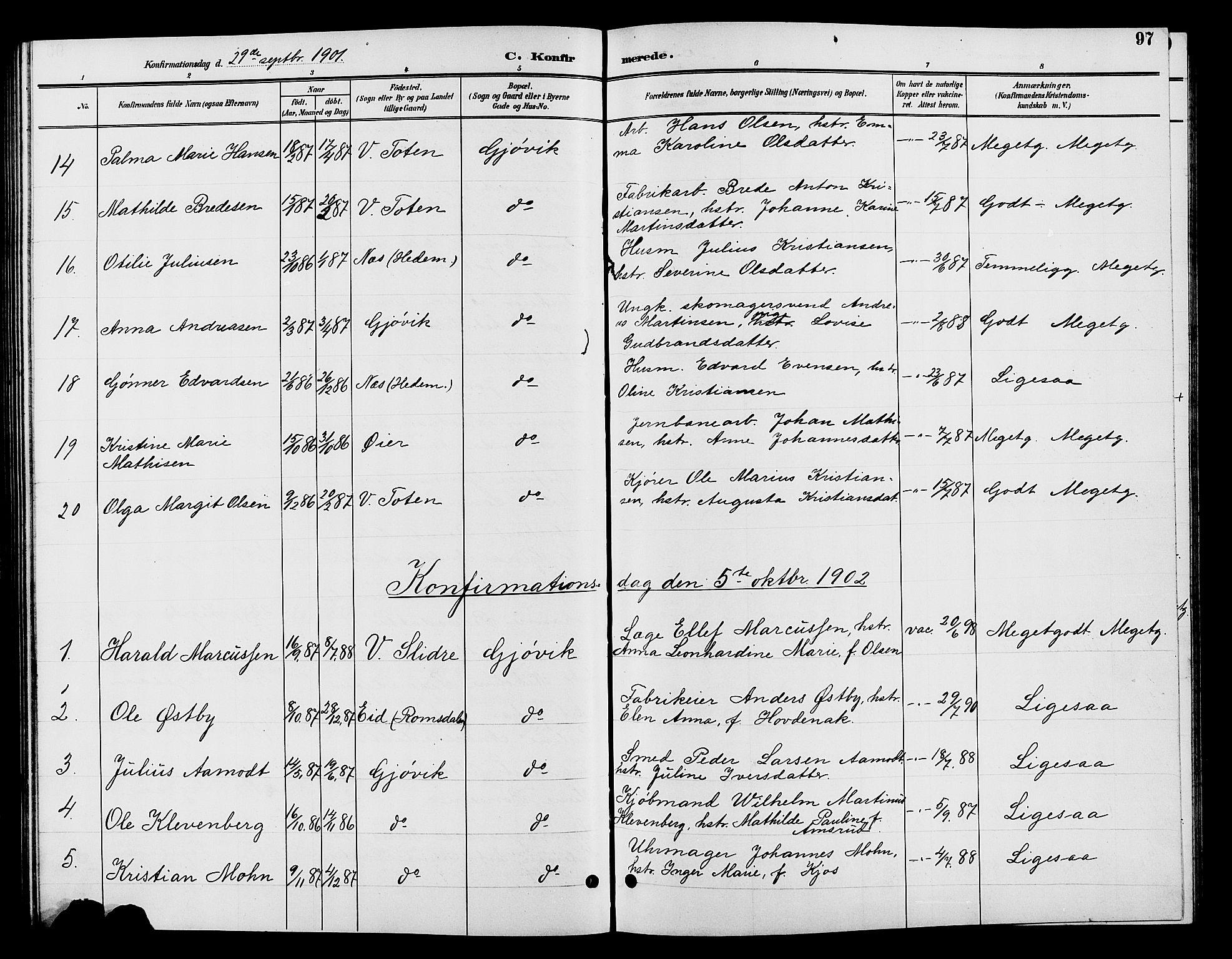 SAH, Vardal prestekontor, H/Ha/Hab/L0009: Klokkerbok nr. 9, 1894-1902, s. 97