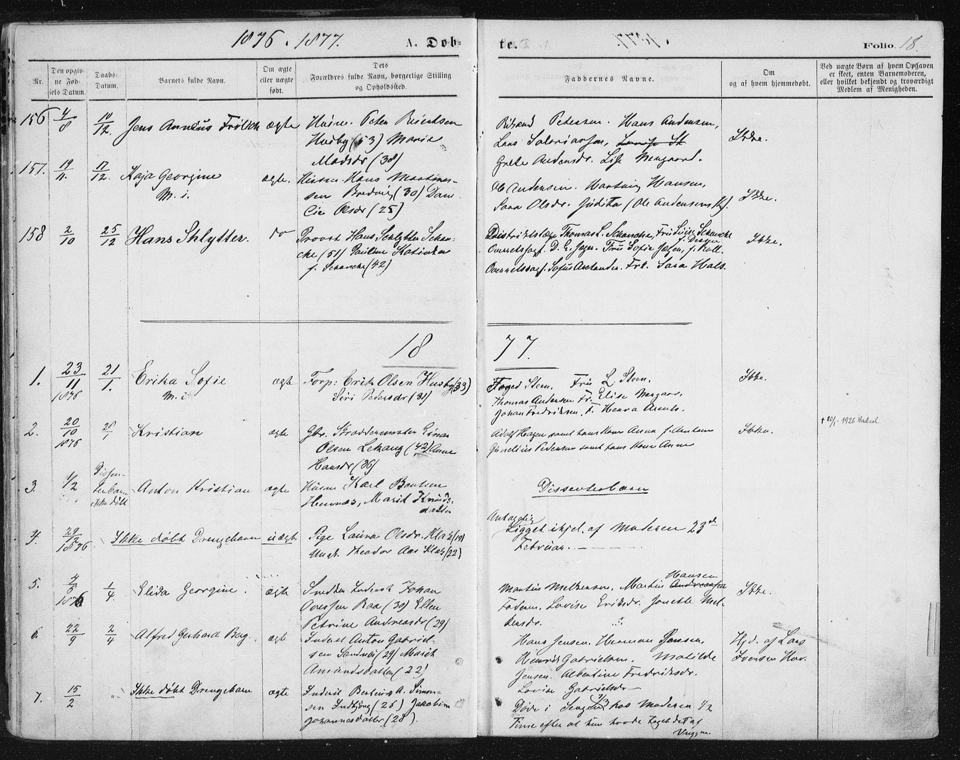 SAT, Ministerialprotokoller, klokkerbøker og fødselsregistre - Nordland, 888/L1243: Ministerialbok nr. 888A09, 1876-1879, s. 18