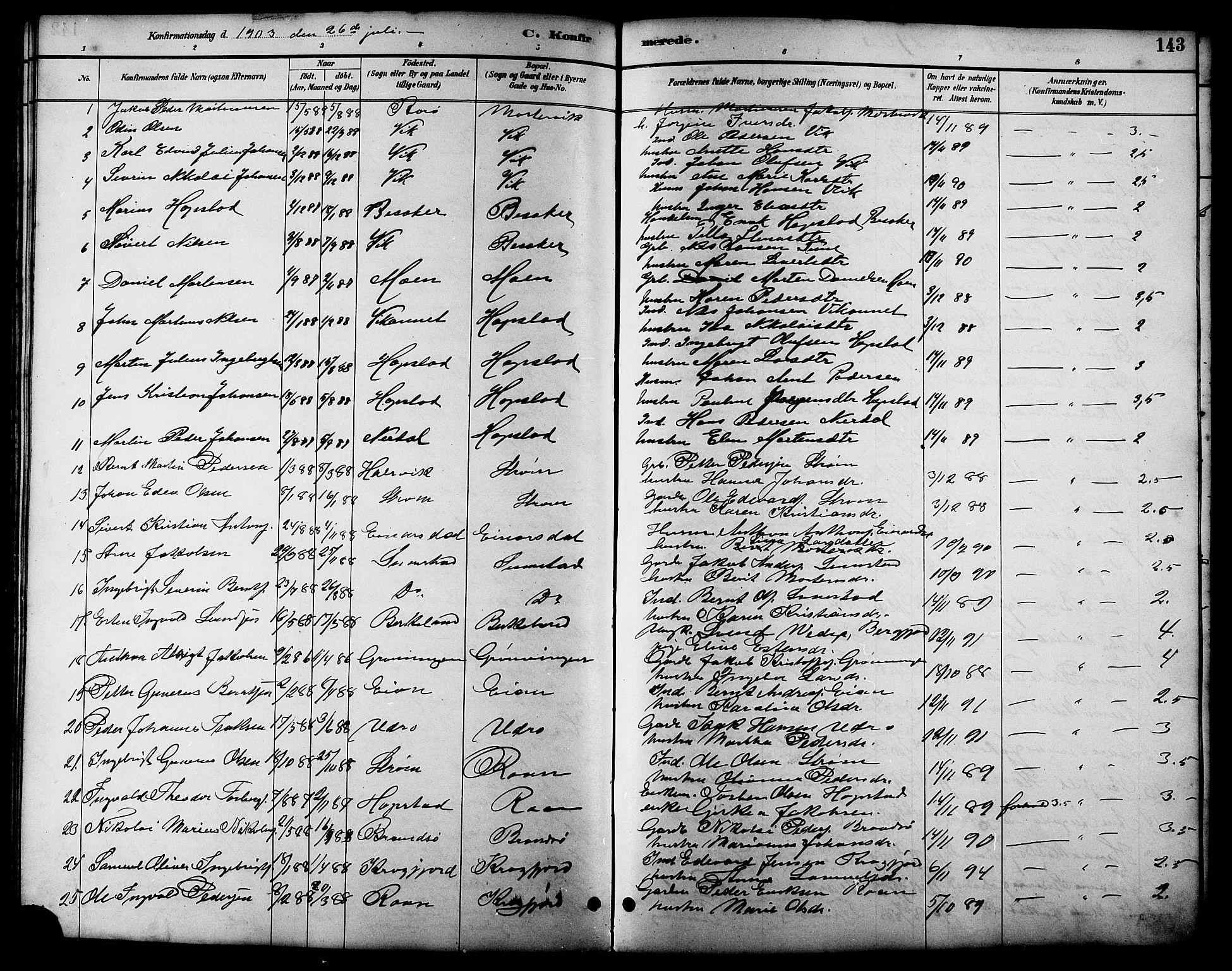 SAT, Ministerialprotokoller, klokkerbøker og fødselsregistre - Sør-Trøndelag, 657/L0716: Klokkerbok nr. 657C03, 1889-1904, s. 143