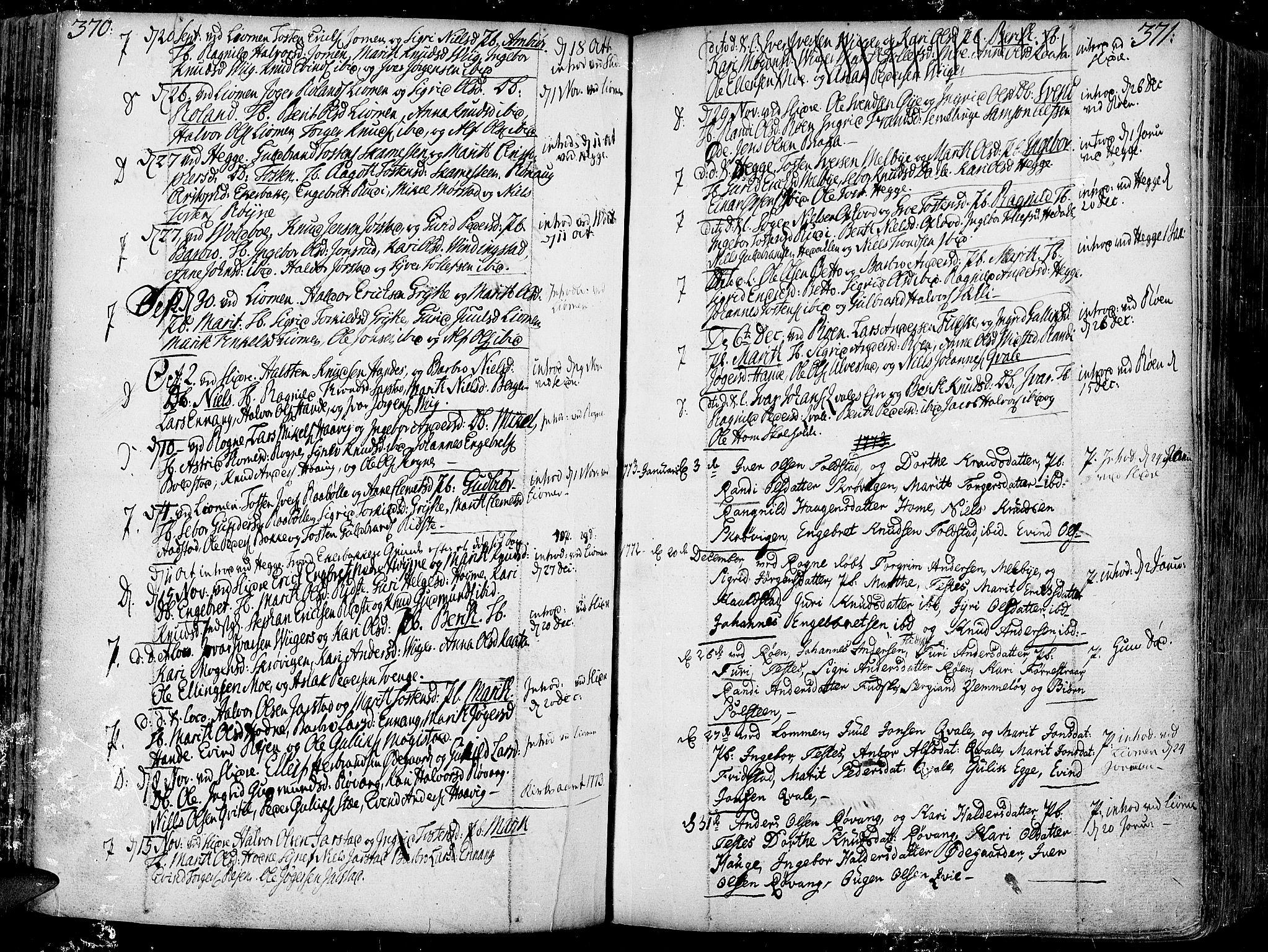 SAH, Slidre prestekontor, Ministerialbok nr. 1, 1724-1814, s. 370-371