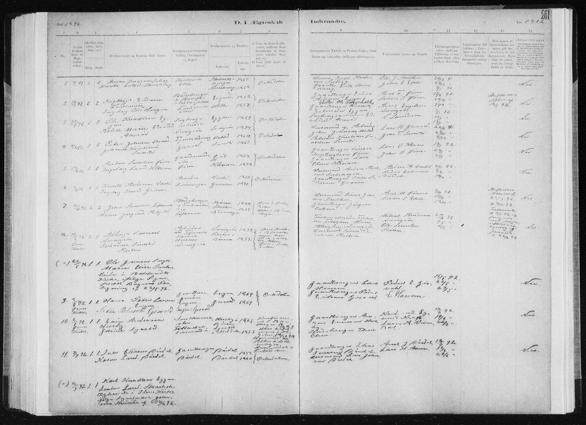 SAT, Ministerialprotokoller, klokkerbøker og fødselsregistre - Sør-Trøndelag, 668/L0818: Klokkerbok nr. 668C07, 1885-1898, s. 261