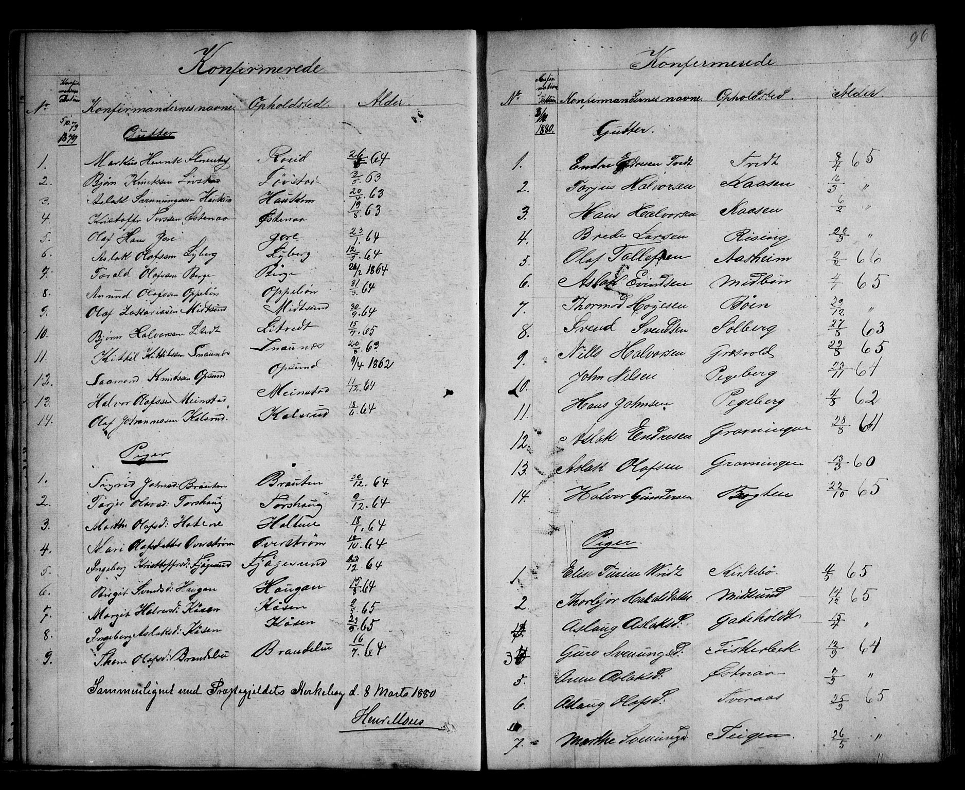 SAKO, Kviteseid kirkebøker, G/Ga/L0001: Klokkerbok nr. I 1, 1850-1893, s. 96
