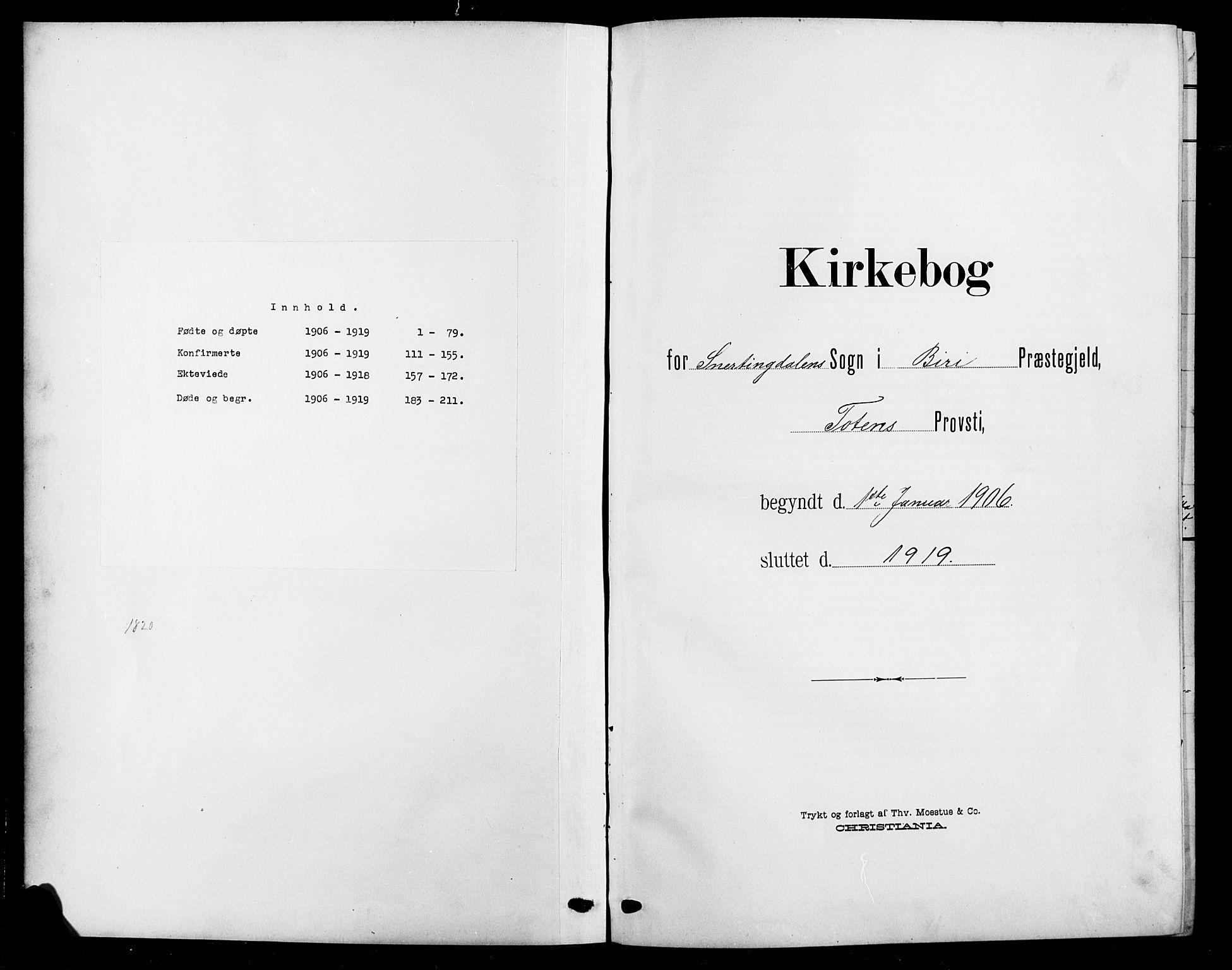 SAH, Biri prestekontor, Klokkerbok nr. 5, 1906-1919
