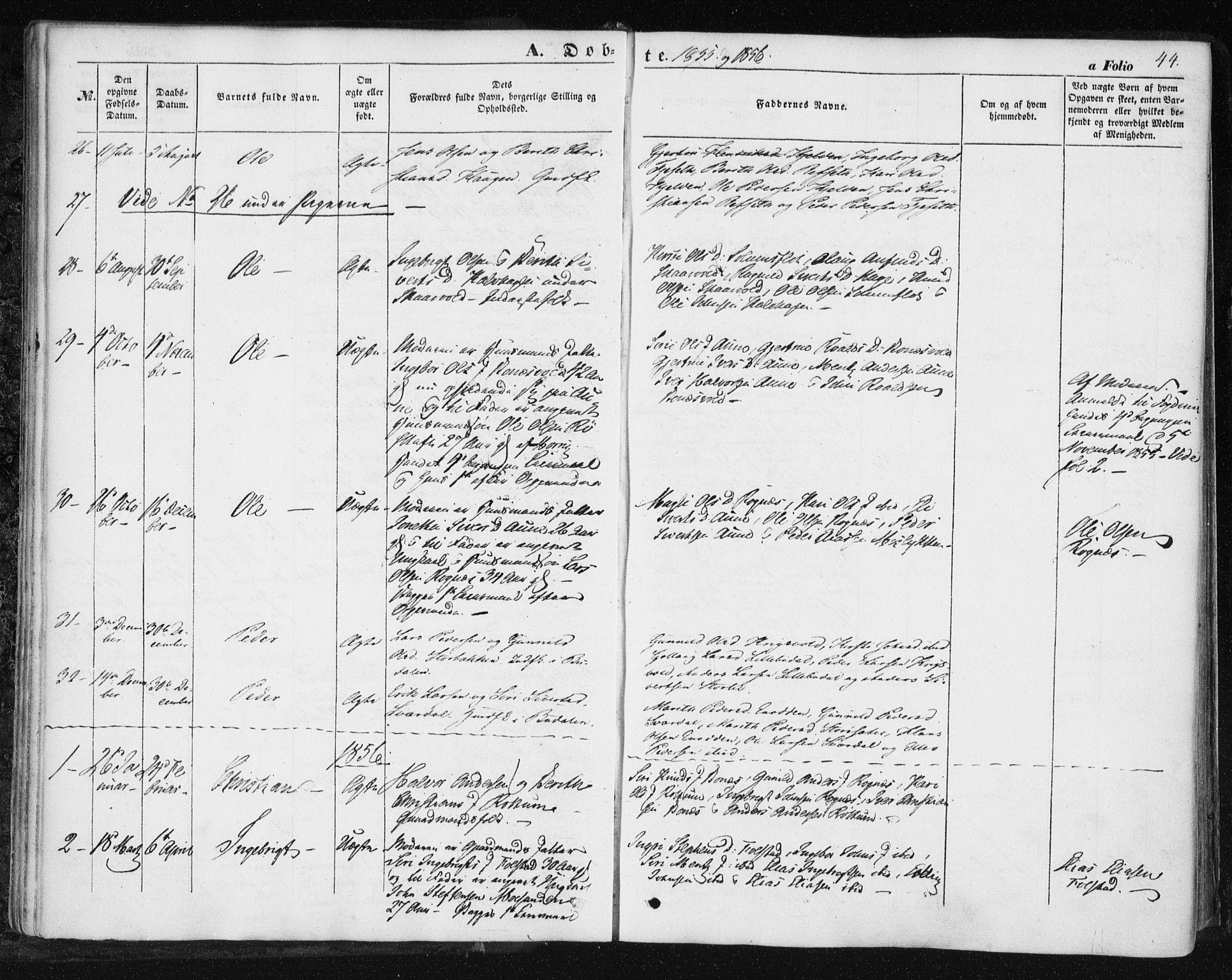 SAT, Ministerialprotokoller, klokkerbøker og fødselsregistre - Sør-Trøndelag, 687/L1000: Ministerialbok nr. 687A06, 1848-1869, s. 44