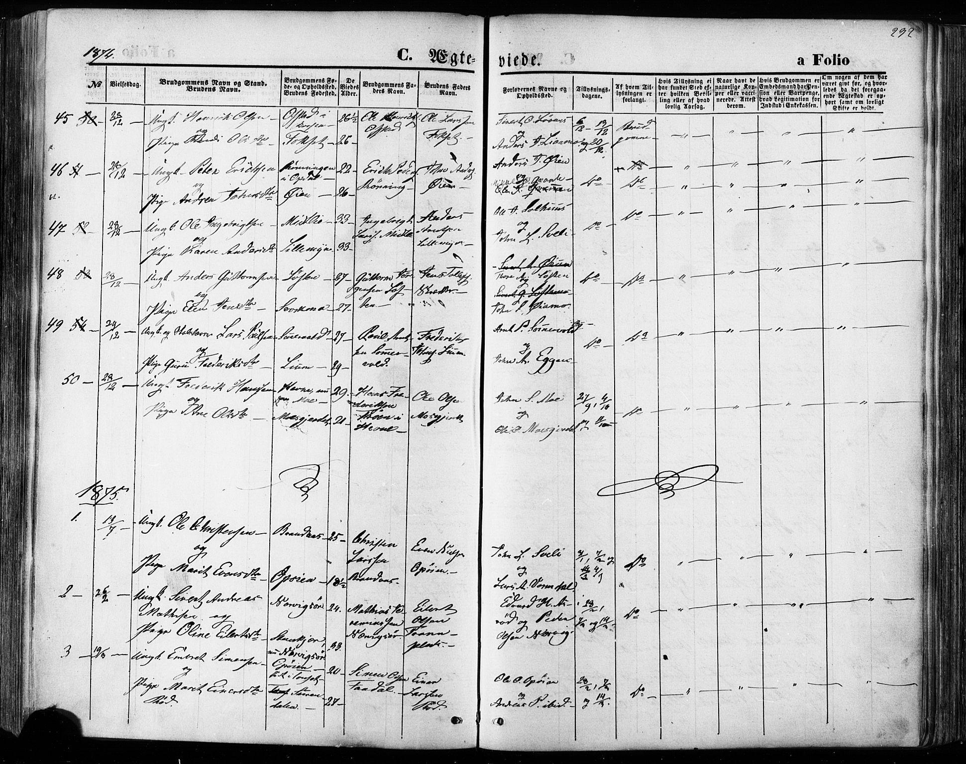 SAT, Ministerialprotokoller, klokkerbøker og fødselsregistre - Sør-Trøndelag, 668/L0807: Ministerialbok nr. 668A07, 1870-1880, s. 292