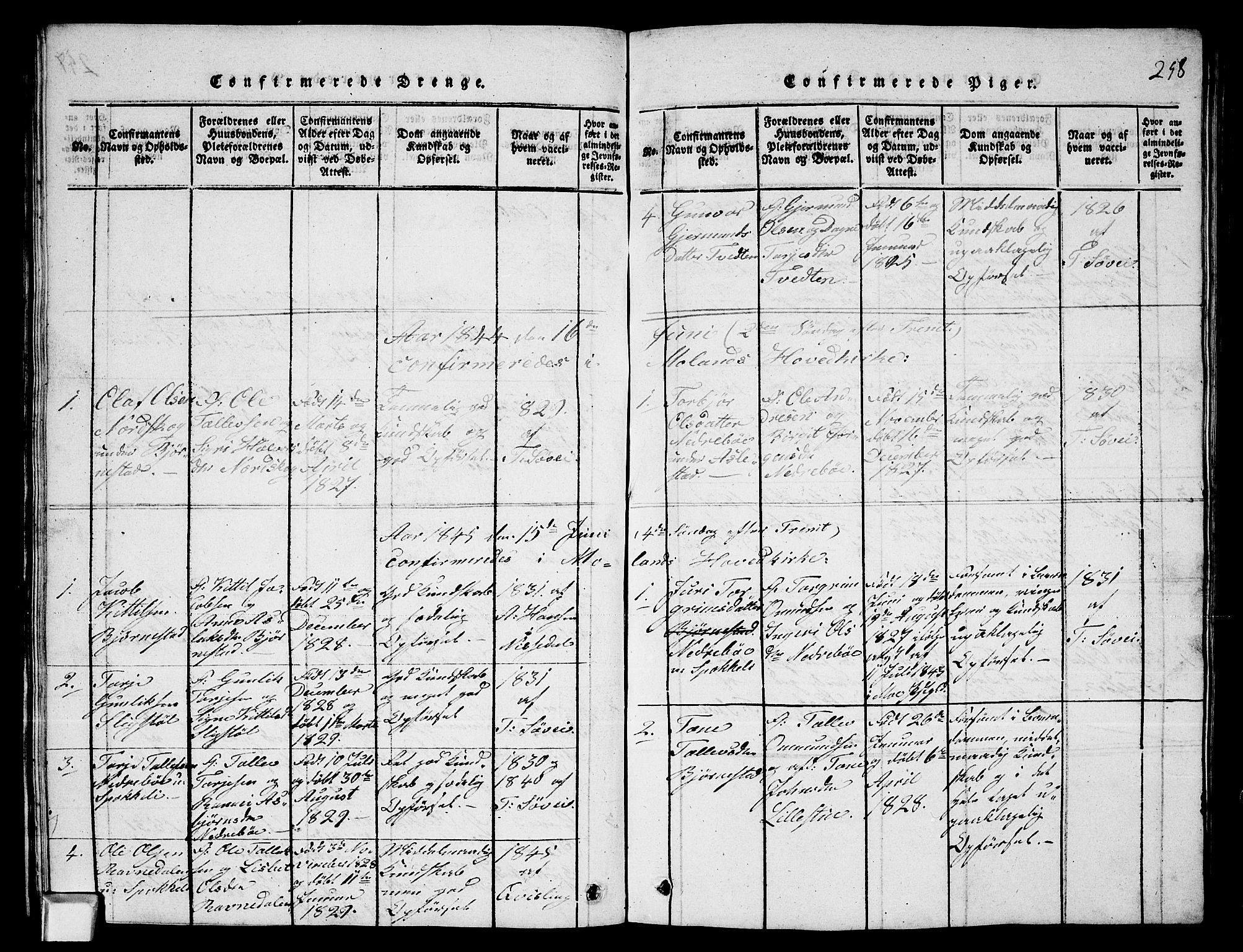 SAKO, Fyresdal kirkebøker, G/Ga/L0003: Klokkerbok nr. I 3, 1815-1863, s. 258