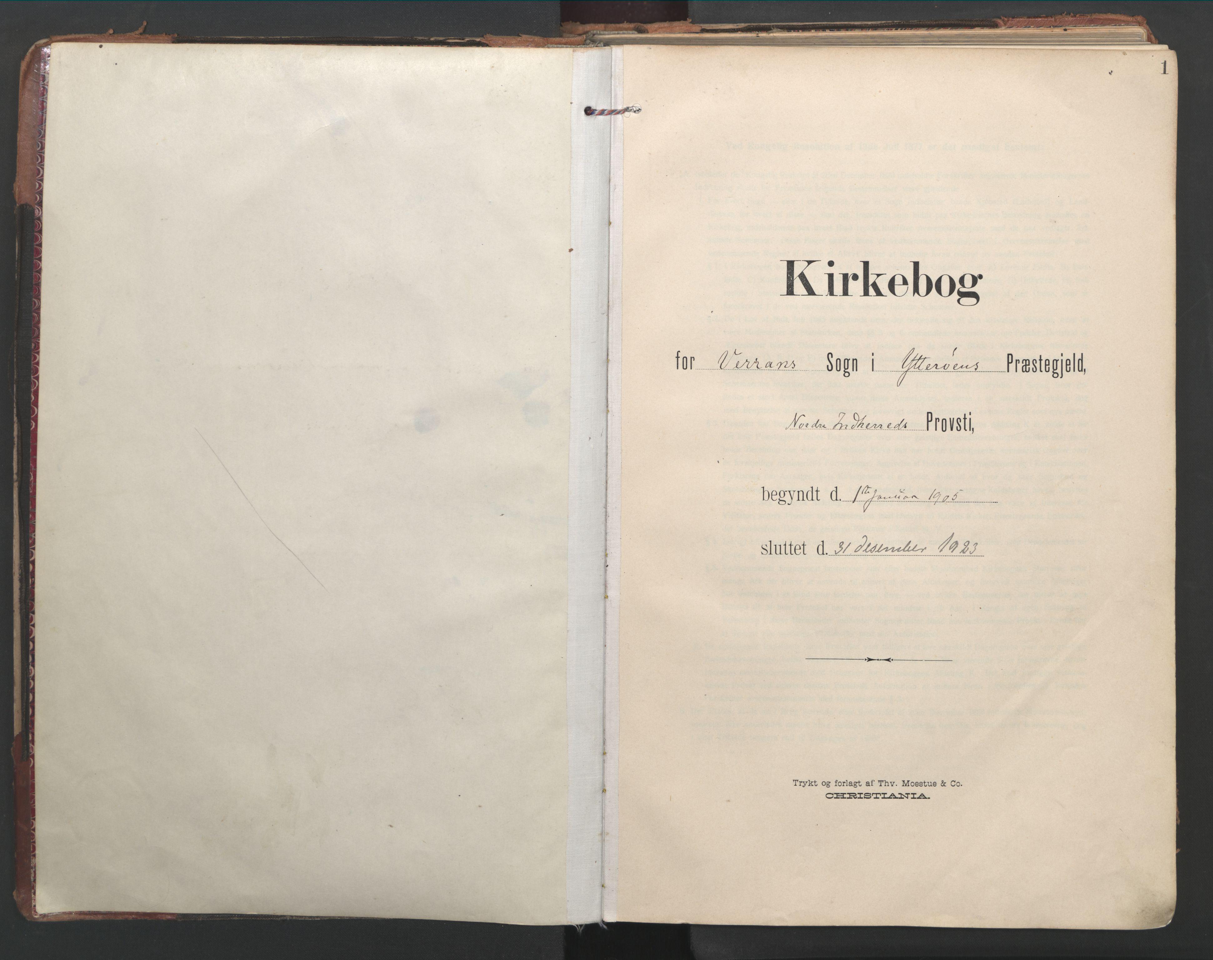 SAT, Ministerialprotokoller, klokkerbøker og fødselsregistre - Nord-Trøndelag, 744/L0421: Ministerialbok nr. 744A05, 1905-1930, s. 1