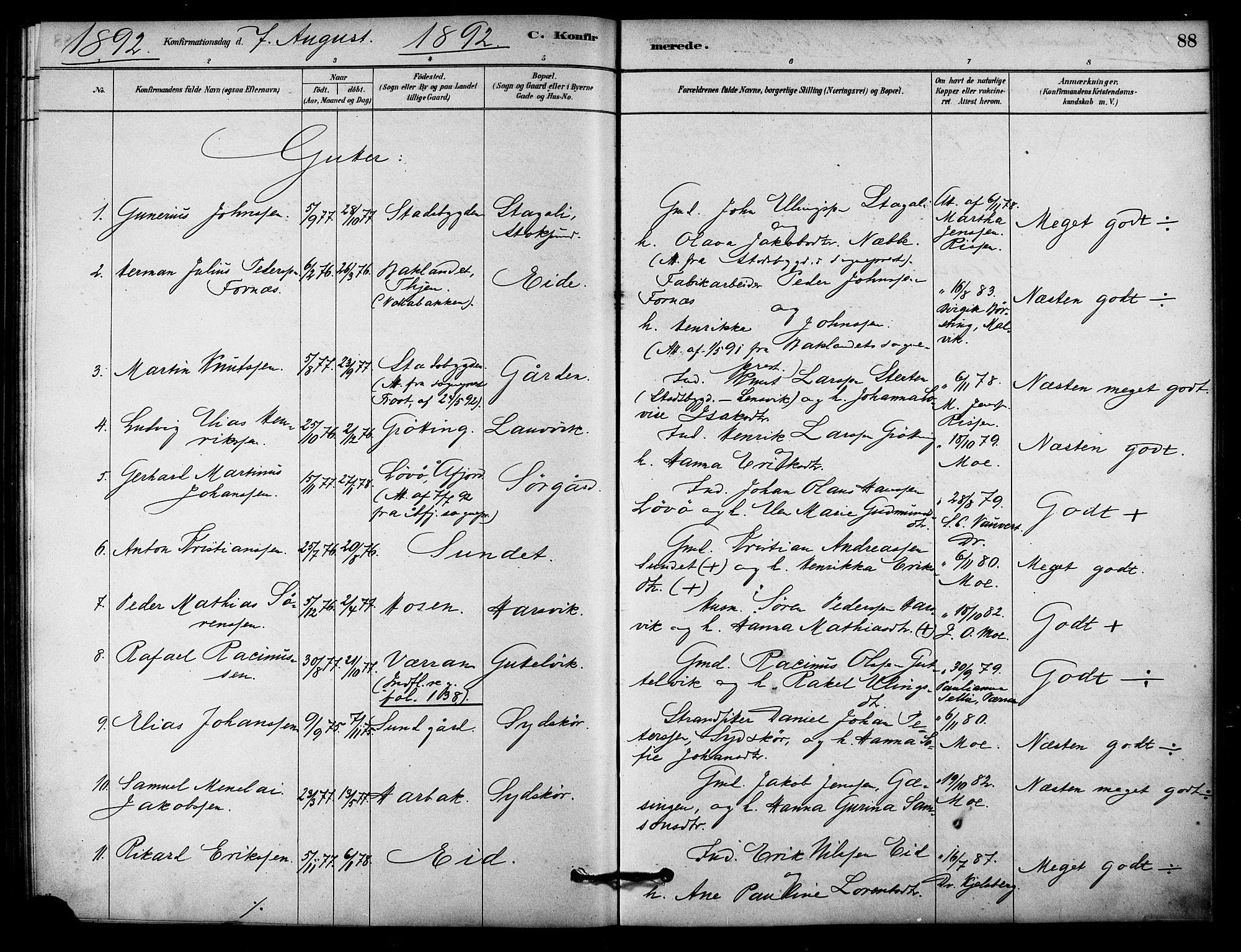 SAT, Ministerialprotokoller, klokkerbøker og fødselsregistre - Sør-Trøndelag, 656/L0692: Ministerialbok nr. 656A01, 1879-1893, s. 88