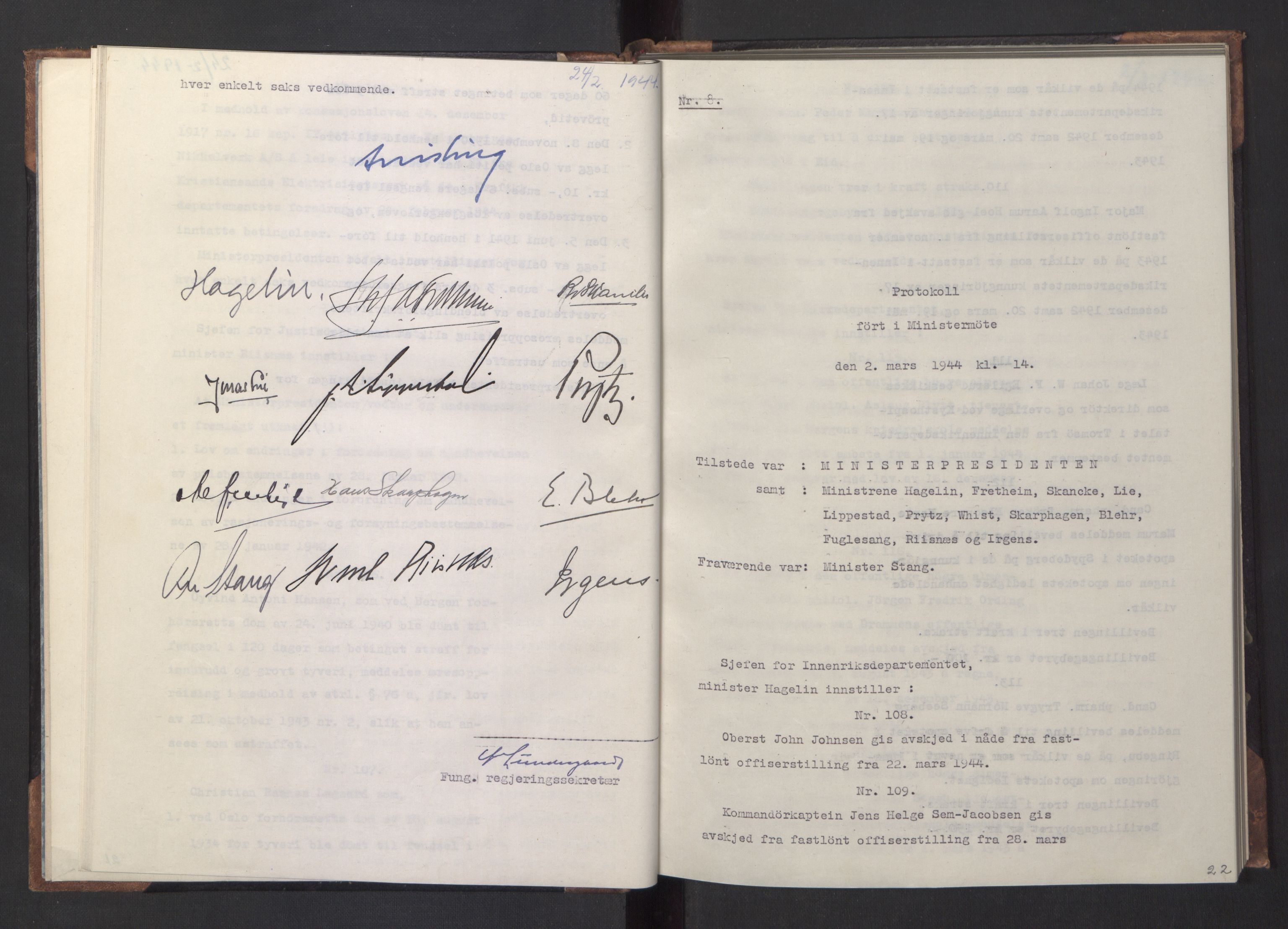 RA, NS-administrasjonen 1940-1945 (Statsrådsekretariatet, de kommisariske statsråder mm), D/Da/L0005: Protokoll fra ministermøter, 1944, s. 21b-22a