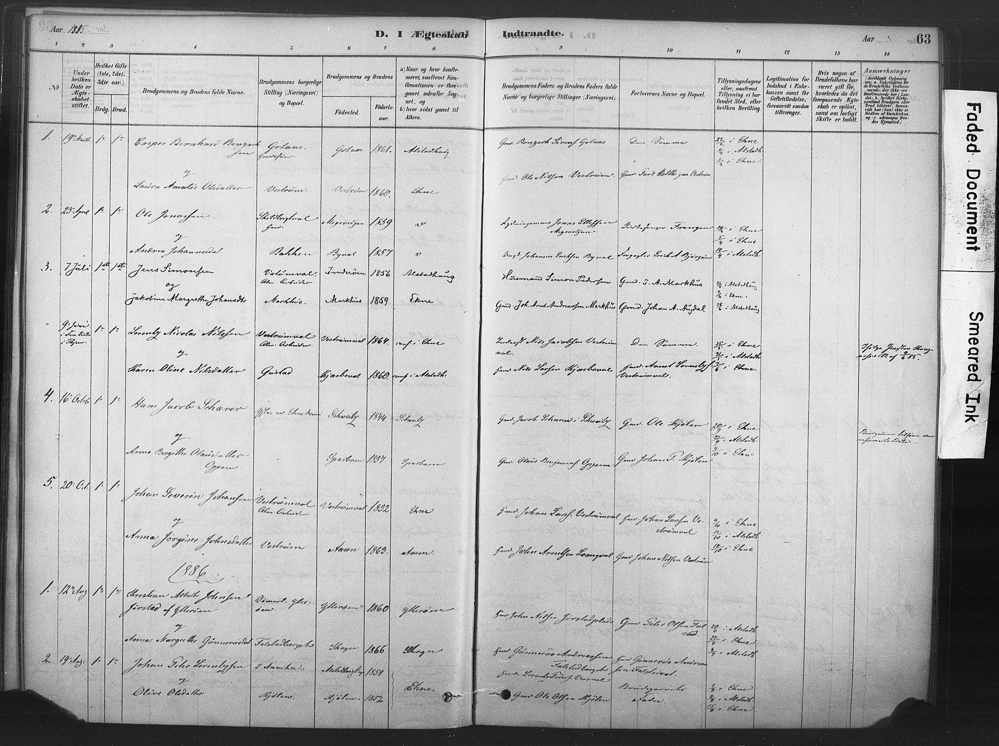 SAT, Ministerialprotokoller, klokkerbøker og fødselsregistre - Nord-Trøndelag, 719/L0178: Ministerialbok nr. 719A01, 1878-1900, s. 63