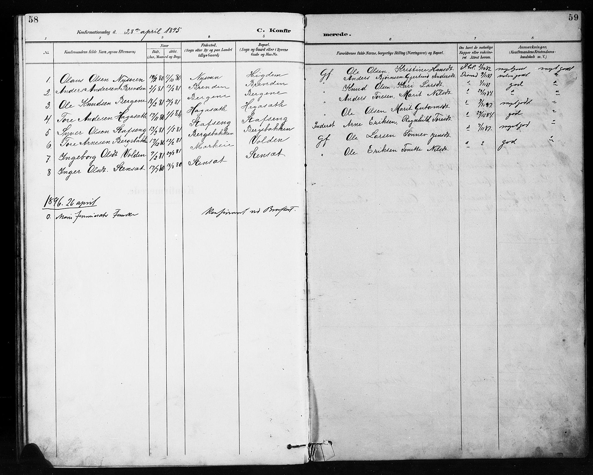 SAH, Etnedal prestekontor, H/Ha/Hab/Habb/L0001: Klokkerbok nr. II 1, 1894-1911, s. 58-59