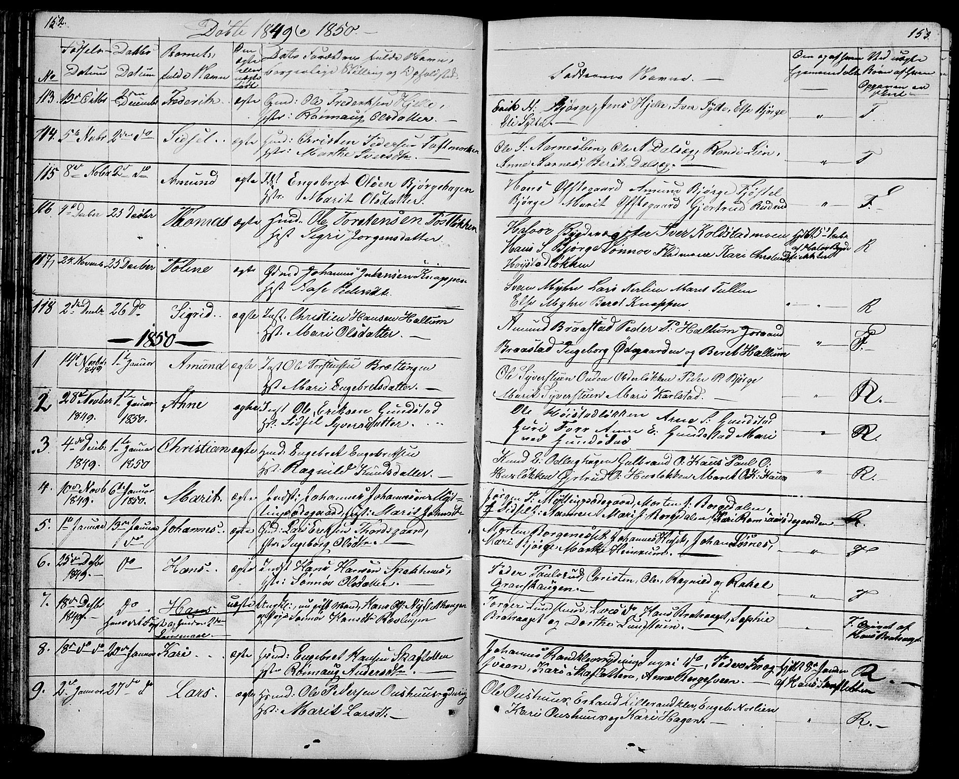 SAH, Ringebu prestekontor, Klokkerbok nr. 2, 1839-1853, s. 152-153