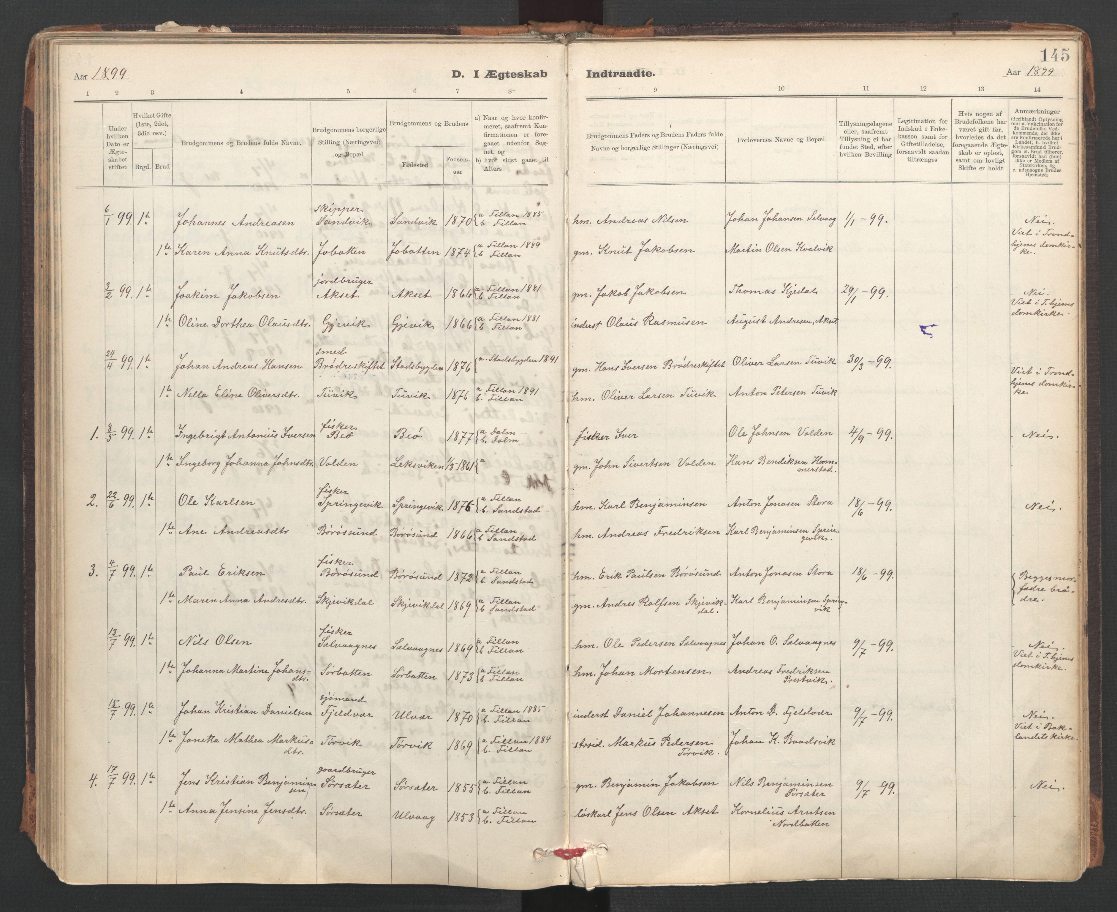 SAT, Ministerialprotokoller, klokkerbøker og fødselsregistre - Sør-Trøndelag, 637/L0559: Ministerialbok nr. 637A02, 1899-1923, s. 145