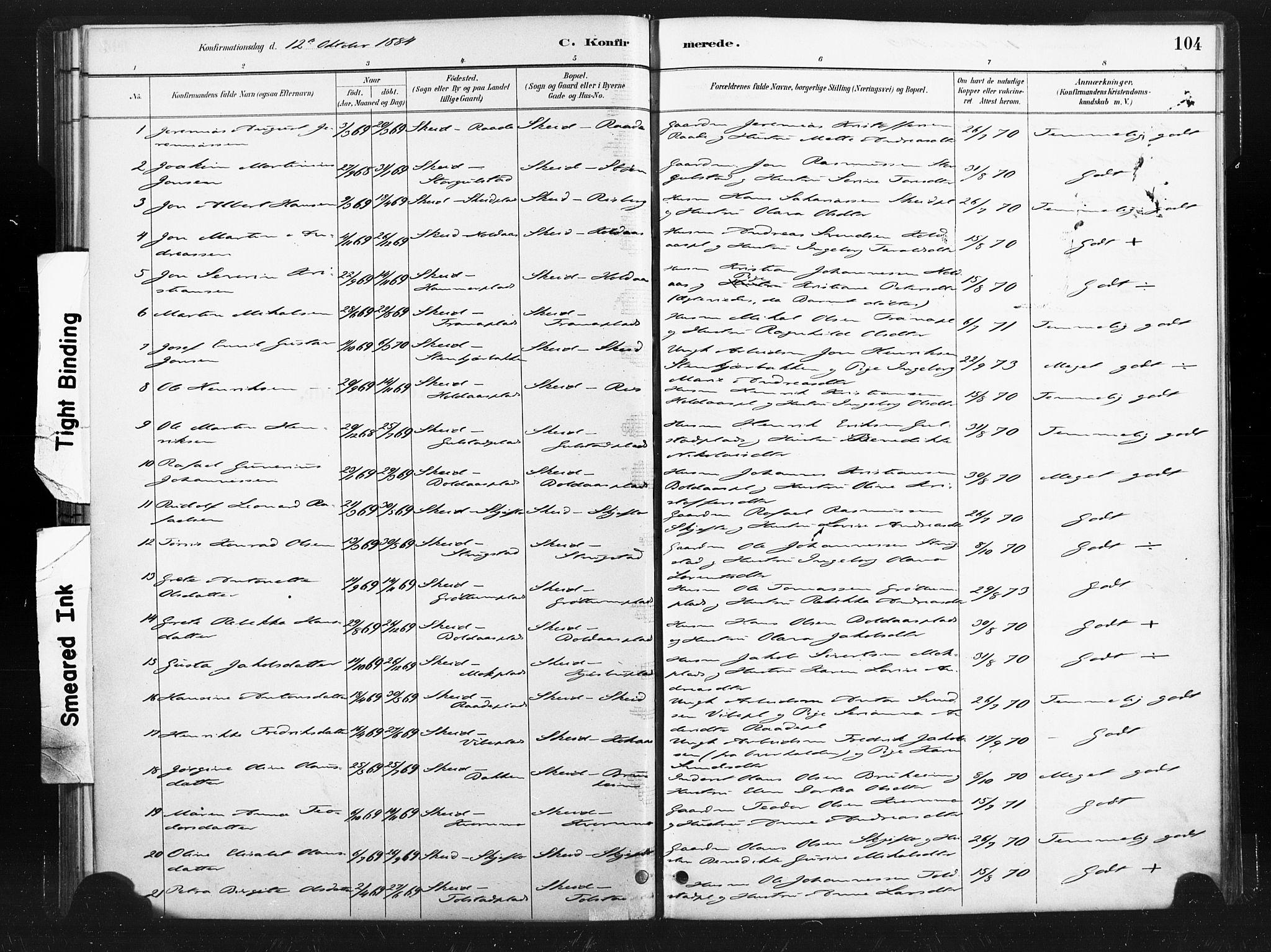 SAT, Ministerialprotokoller, klokkerbøker og fødselsregistre - Nord-Trøndelag, 736/L0361: Ministerialbok nr. 736A01, 1884-1906, s. 104