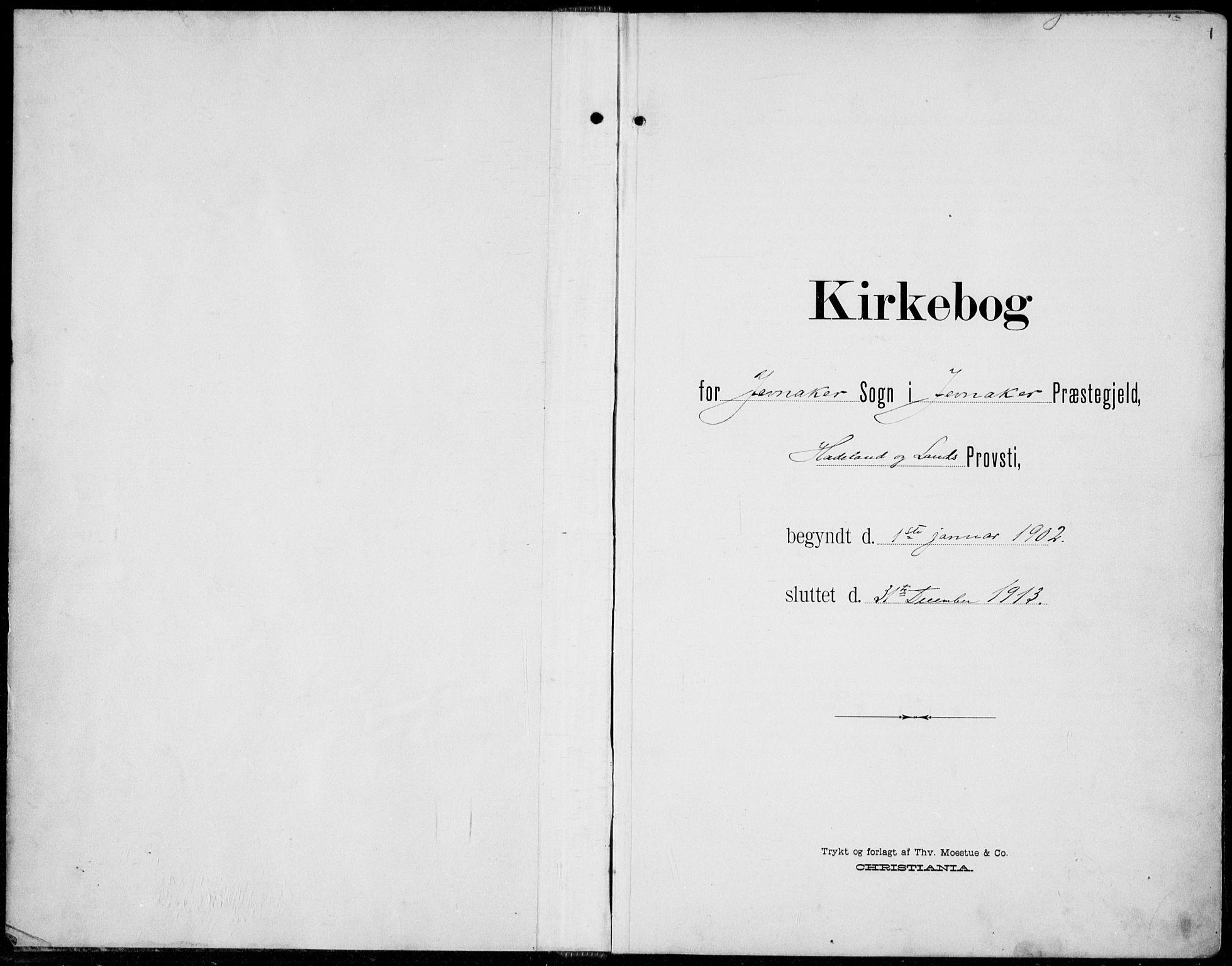 SAH, Jevnaker prestekontor, Ministerialbok nr. 11, 1902-1913, s. 1