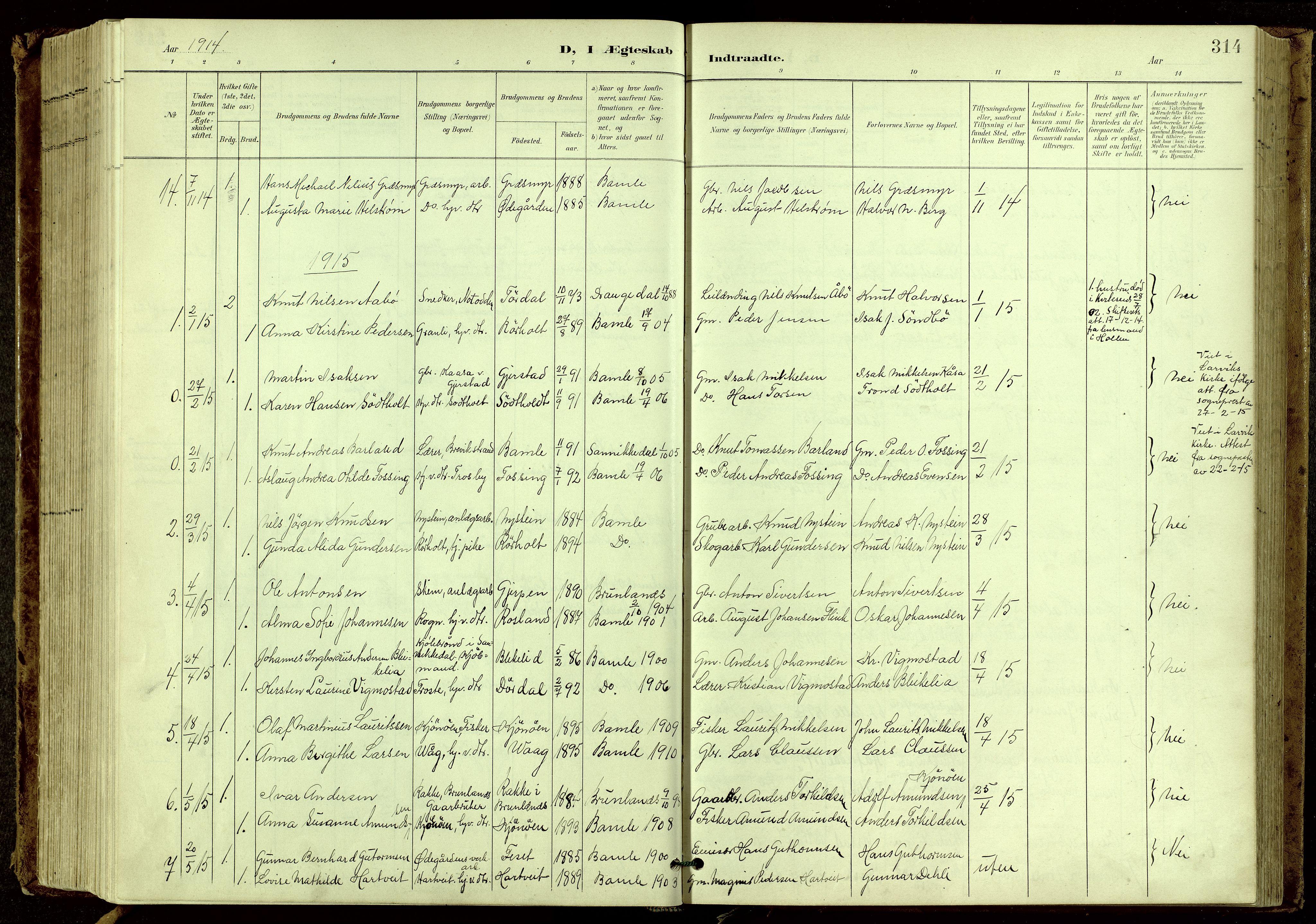 SAKO, Bamble kirkebøker, G/Ga/L0010: Klokkerbok nr. I 10, 1901-1919, s. 314