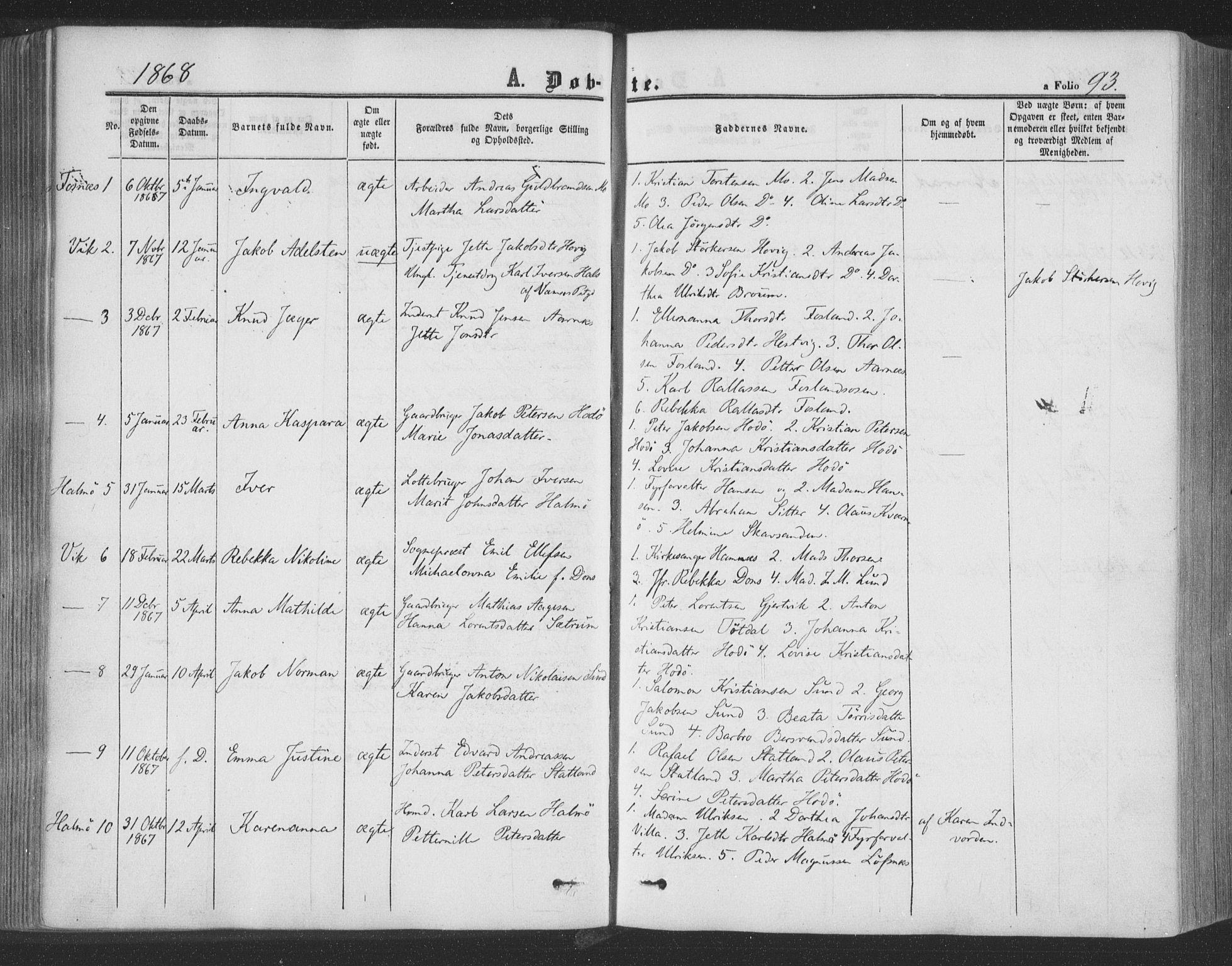 SAT, Ministerialprotokoller, klokkerbøker og fødselsregistre - Nord-Trøndelag, 773/L0615: Ministerialbok nr. 773A06, 1857-1870, s. 93