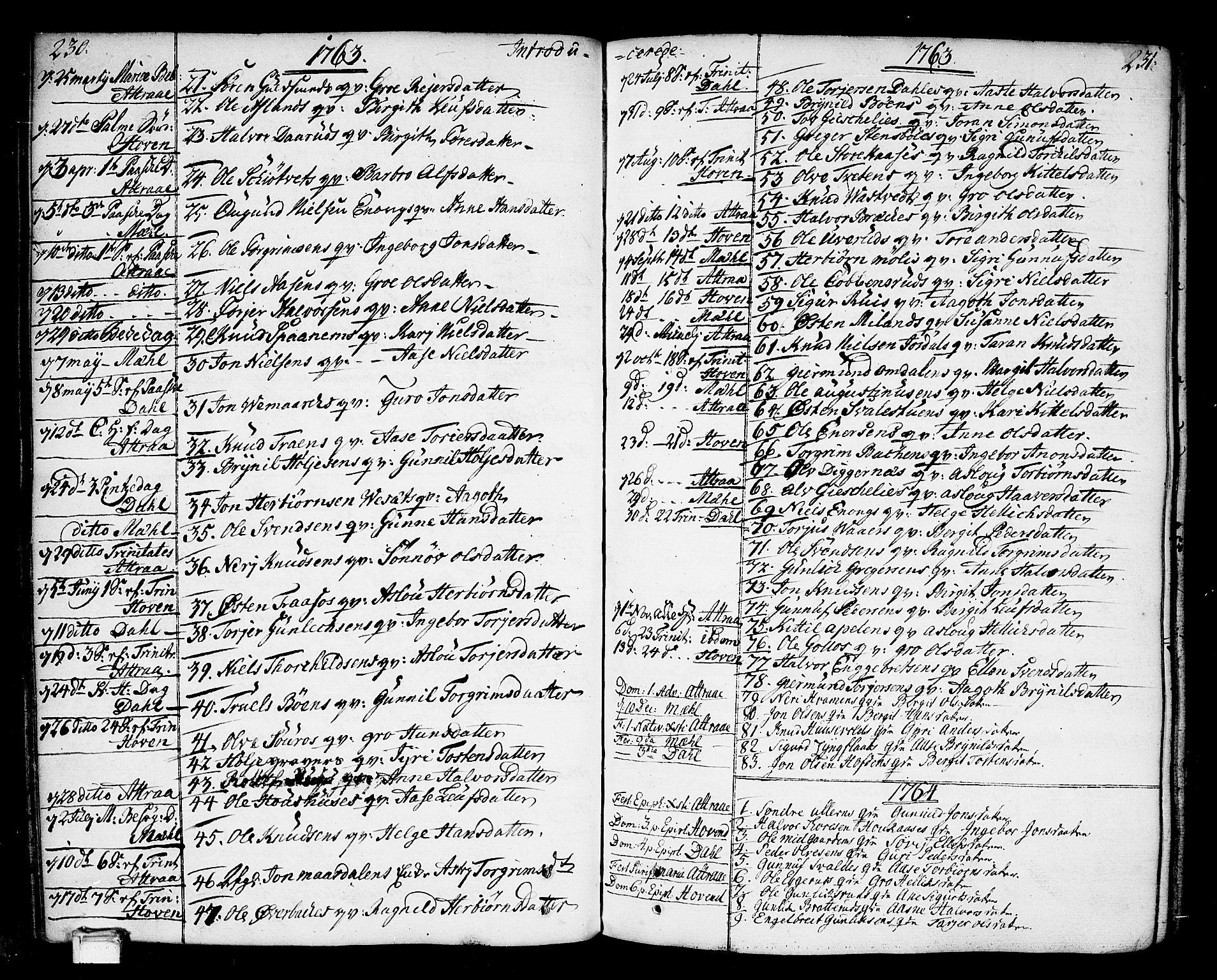 SAKO, Tinn kirkebøker, F/Fa/L0002: Ministerialbok nr. I 2, 1757-1810, s. 230-231