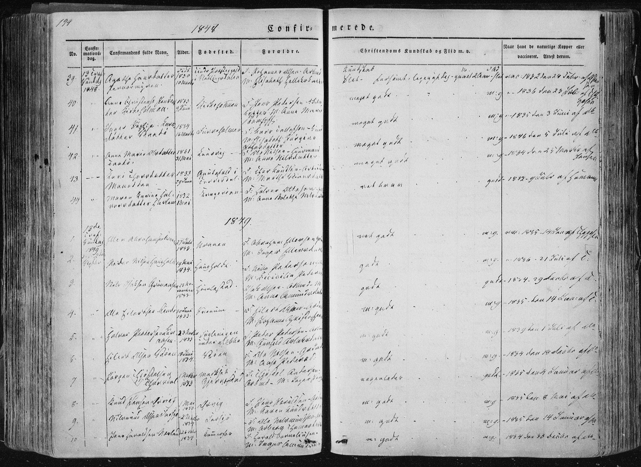 SAKO, Sannidal kirkebøker, F/Fa/L0007: Ministerialbok nr. 7, 1831-1854, s. 194
