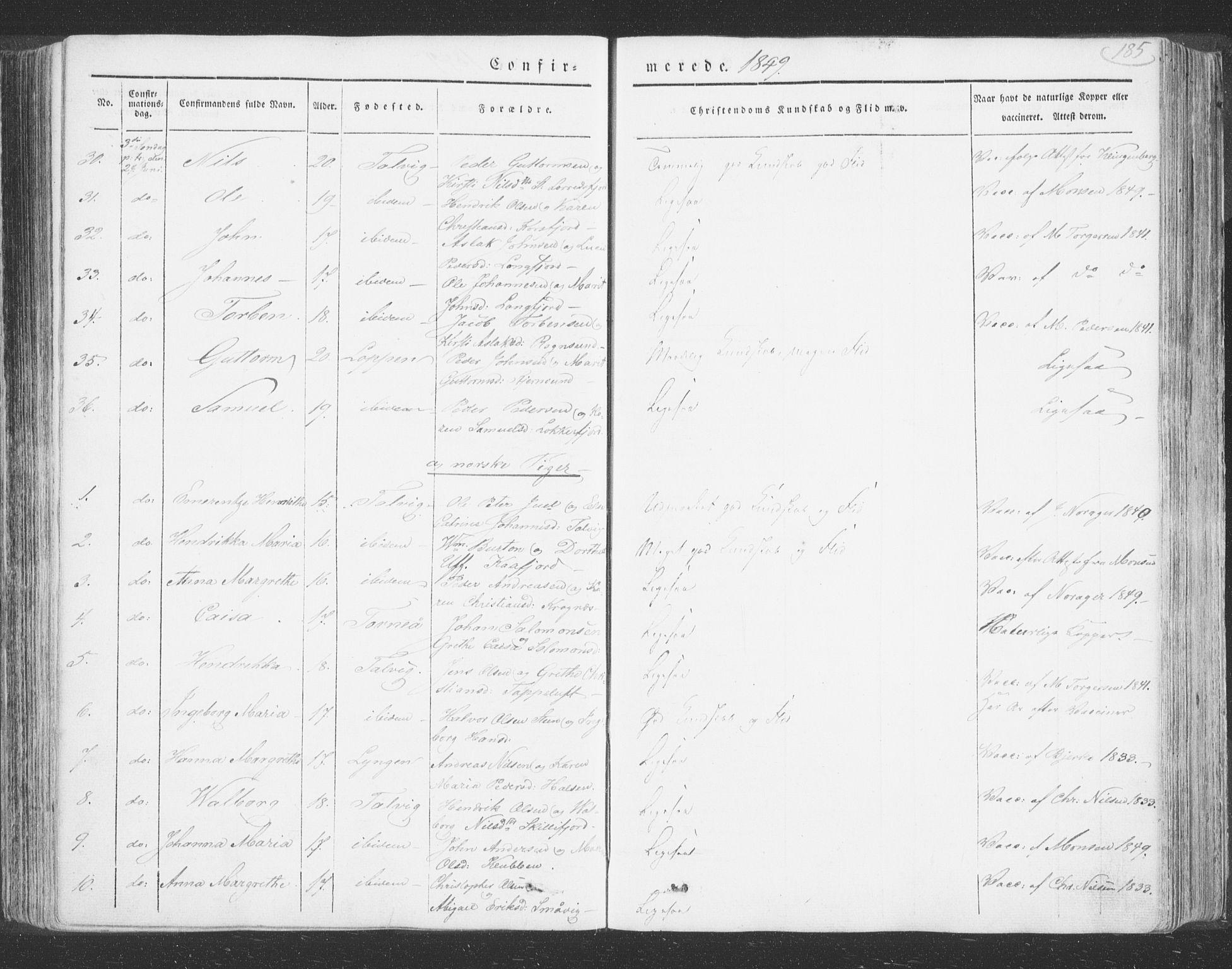 SATØ, Talvik sokneprestkontor, H/Ha/L0009kirke: Ministerialbok nr. 9, 1837-1852, s. 185
