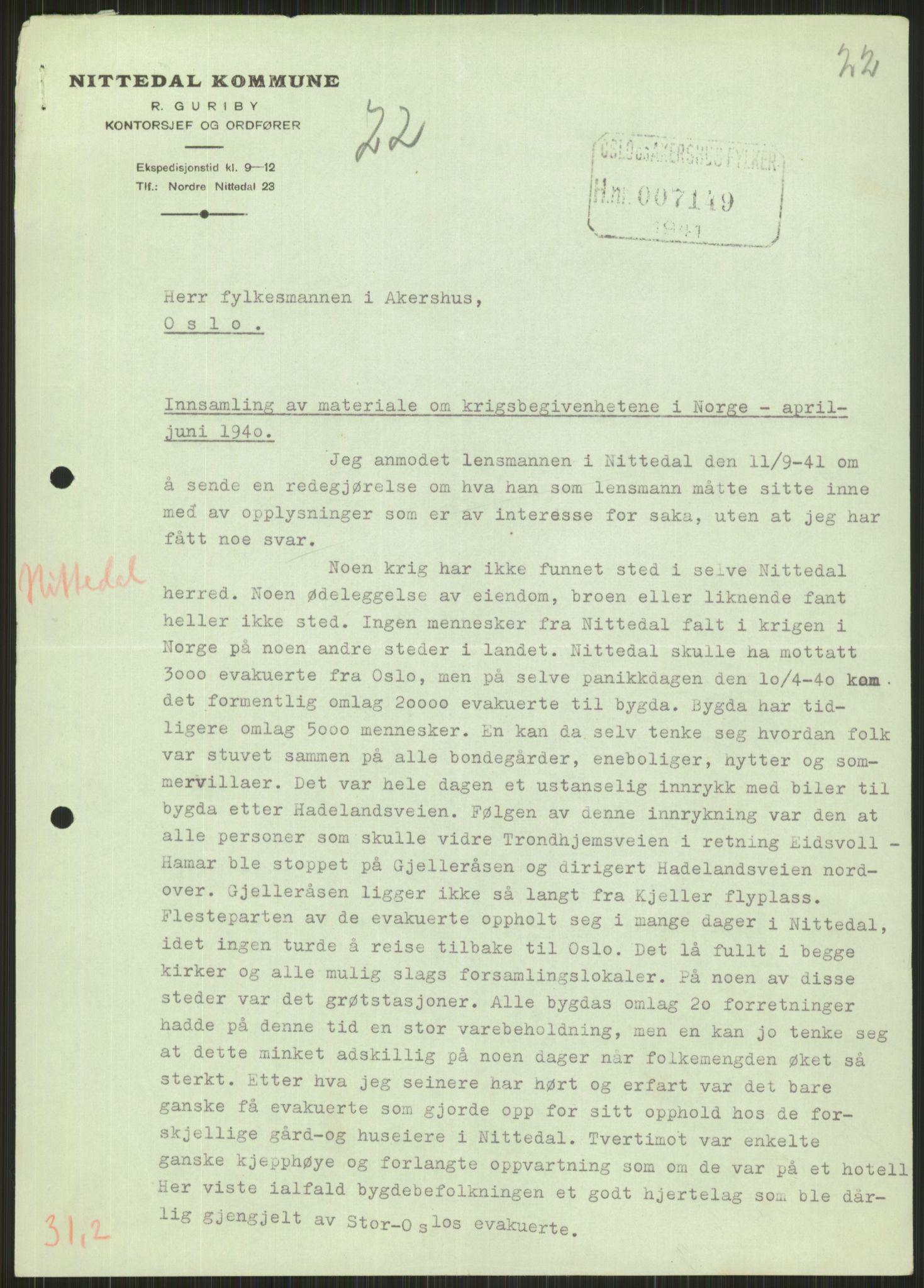 RA, Forsvaret, Forsvarets krigshistoriske avdeling, Y/Ya/L0013: II-C-11-31 - Fylkesmenn.  Rapporter om krigsbegivenhetene 1940., 1940, s. 792