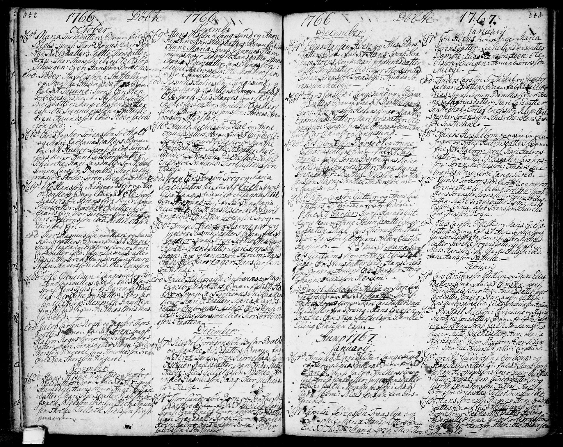 SAKO, Bamble kirkebøker, F/Fa/L0001: Ministerialbok nr. I 1, 1702-1774, s. 342-343