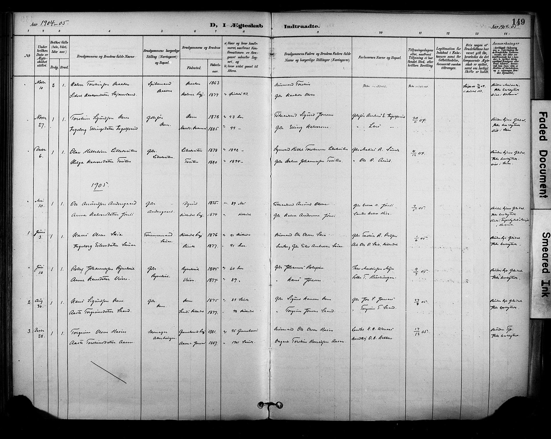 SAKO, Sauherad kirkebøker, F/Fa/L0009: Ministerialbok nr. I 9, 1887-1912, s. 149