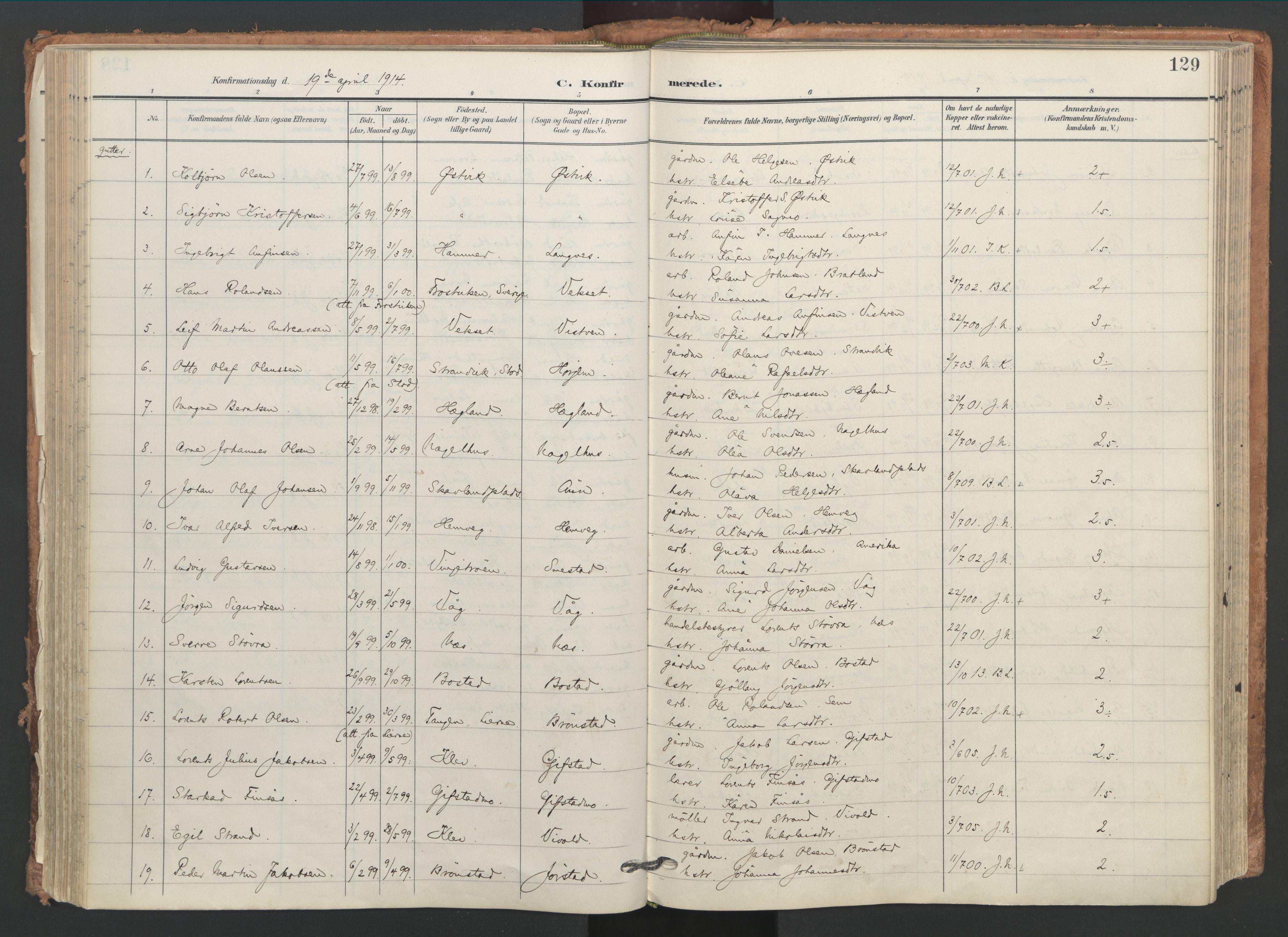 SAT, Ministerialprotokoller, klokkerbøker og fødselsregistre - Nord-Trøndelag, 749/L0477: Ministerialbok nr. 749A11, 1902-1927, s. 129