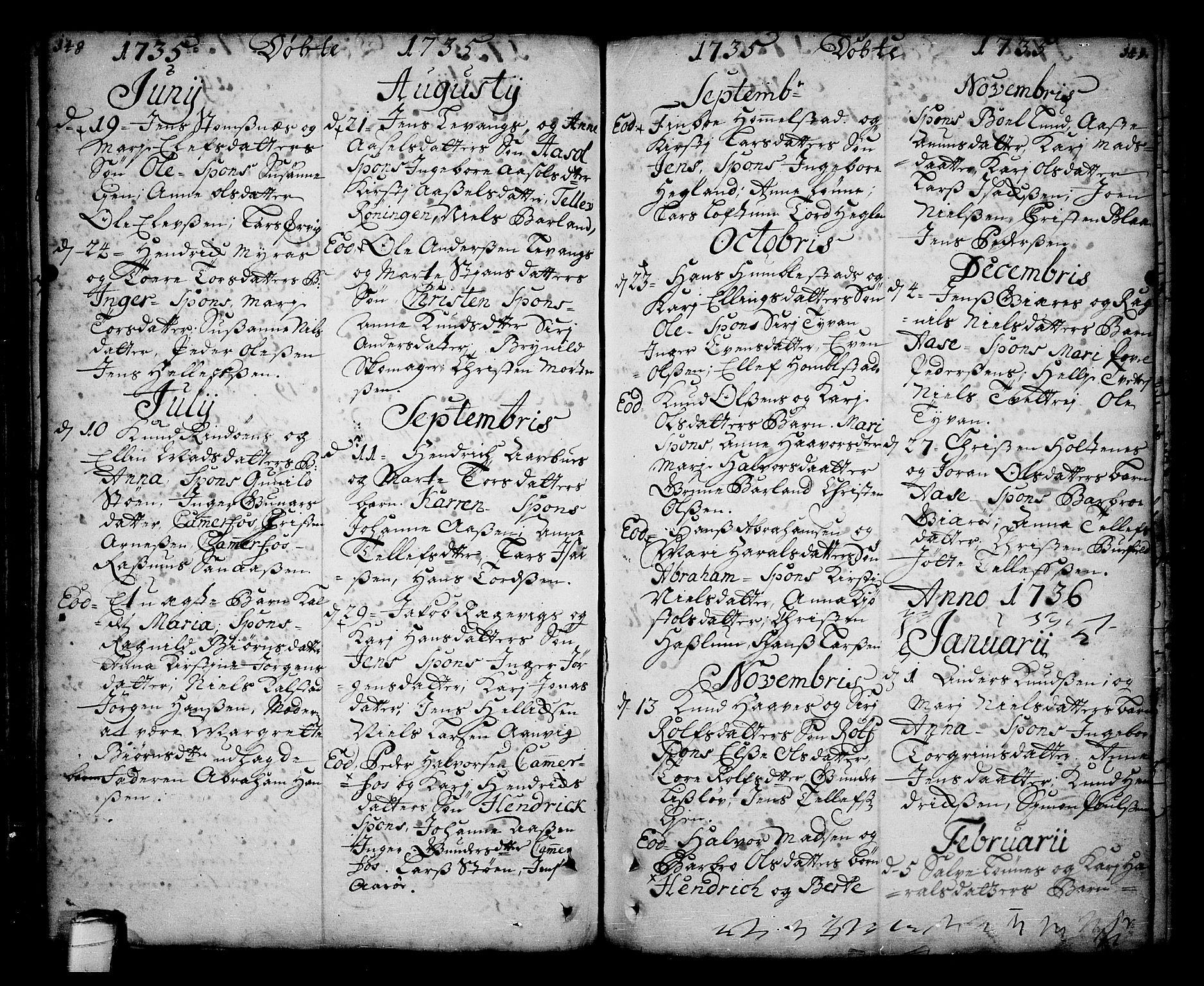 SAKO, Sannidal kirkebøker, F/Fa/L0001: Ministerialbok nr. 1, 1702-1766, s. 148-149