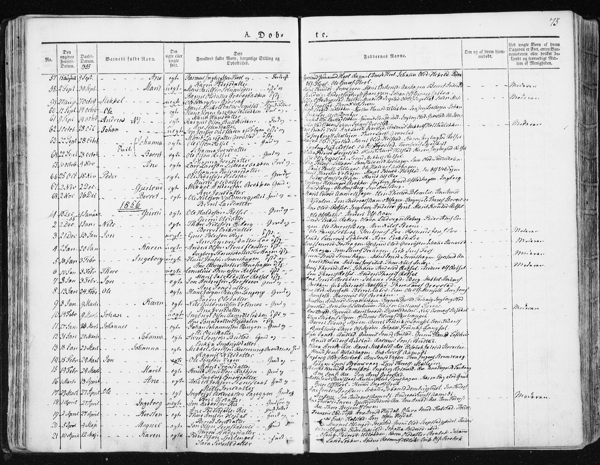 SAT, Ministerialprotokoller, klokkerbøker og fødselsregistre - Sør-Trøndelag, 672/L0855: Ministerialbok nr. 672A07, 1829-1860, s. 75