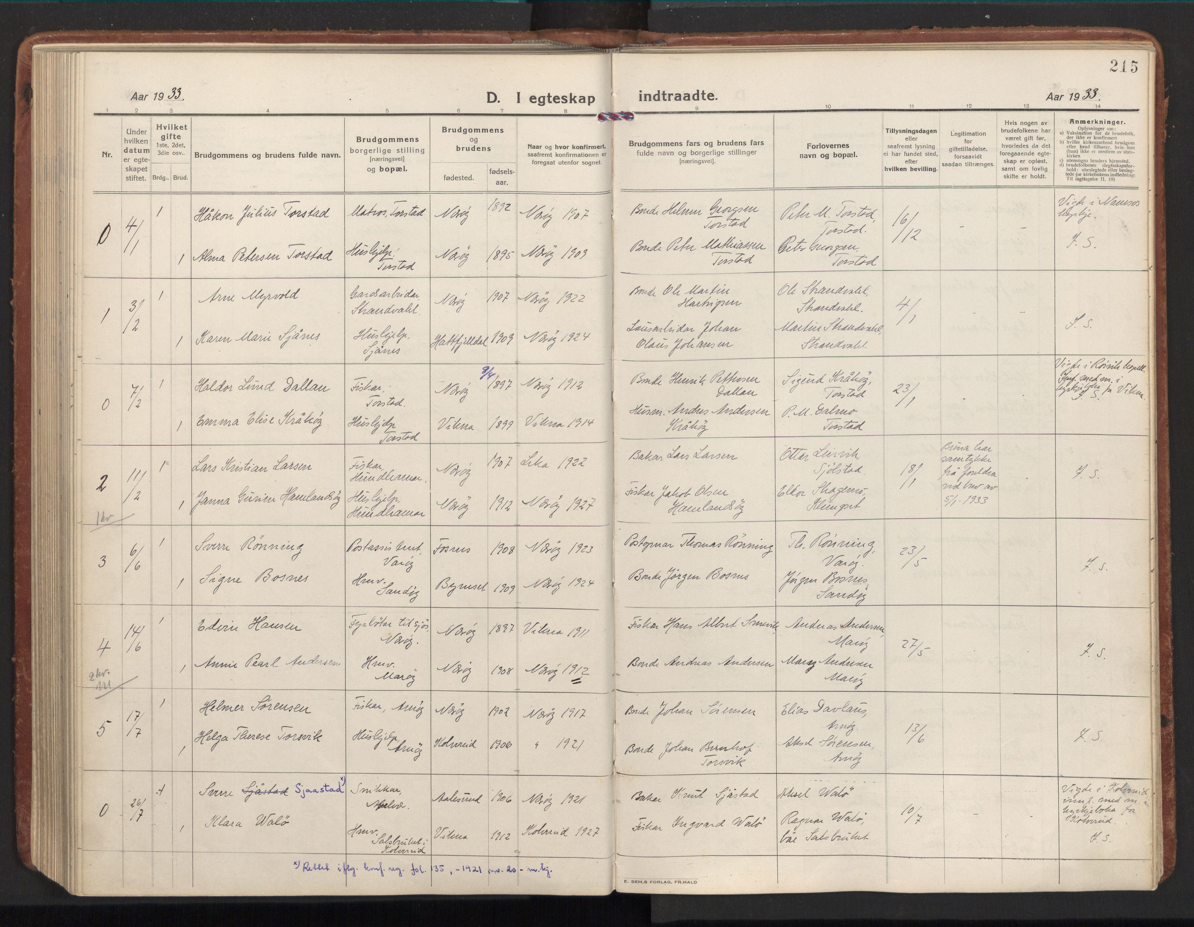 SAT, Ministerialprotokoller, klokkerbøker og fødselsregistre - Nord-Trøndelag, 784/L0678: Ministerialbok nr. 784A13, 1921-1938, s. 215