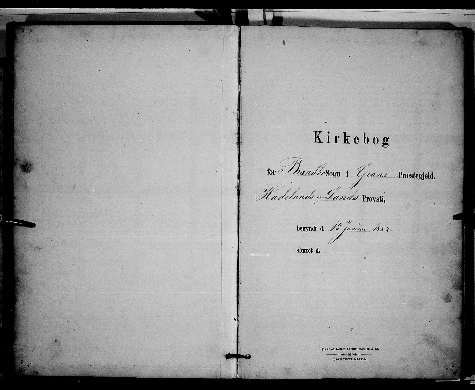SAH, Gran prestekontor, Klokkerbok nr. 3, 1882-1890