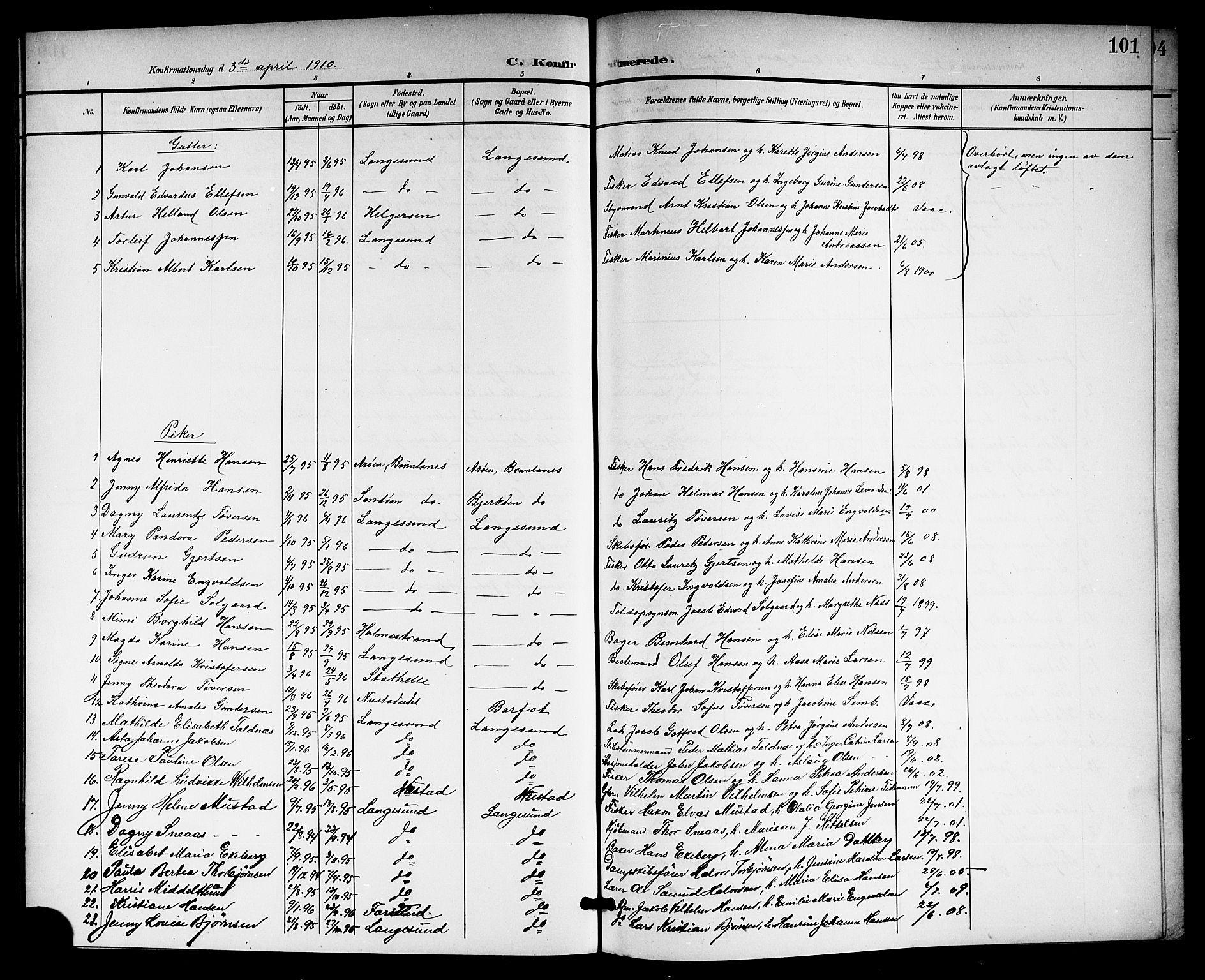 SAKO, Langesund kirkebøker, G/Ga/L0006: Klokkerbok nr. 6, 1899-1918, s. 101