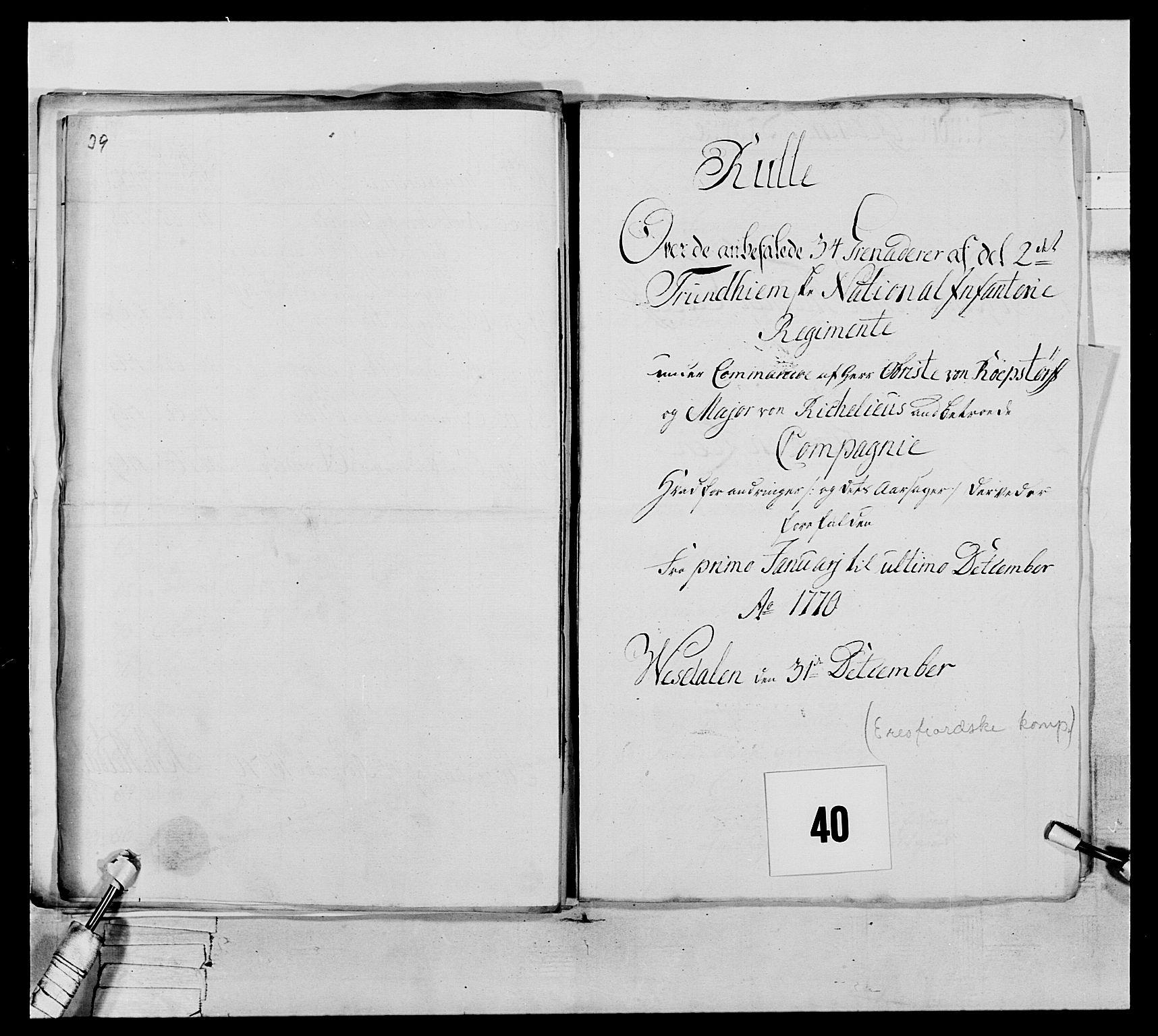 RA, Generalitets- og kommissariatskollegiet, Det kongelige norske kommissariatskollegium, E/Eh/L0076: 2. Trondheimske nasjonale infanteriregiment, 1766-1773, s. 123