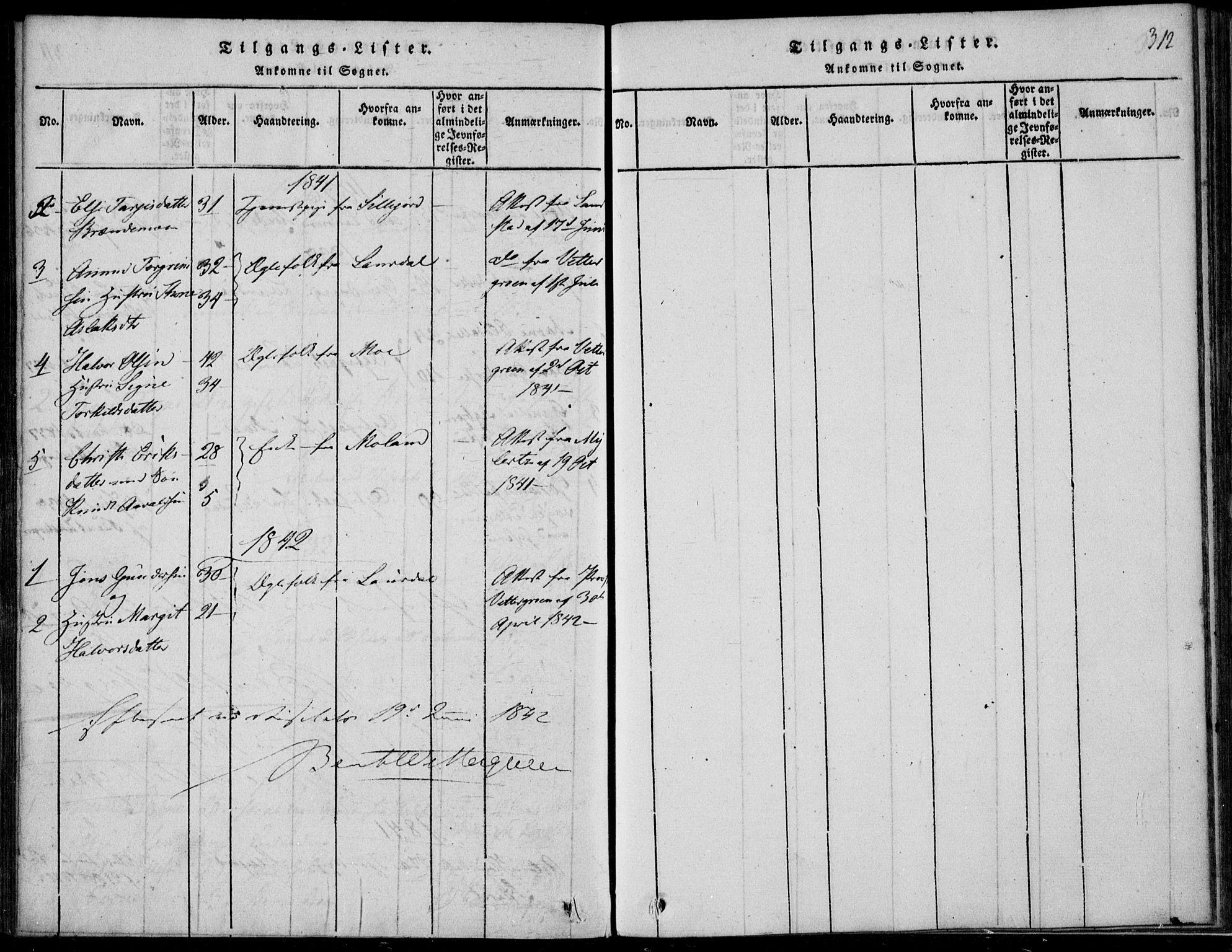 SAKO, Vinje kirkebøker, F/Fb/L0001: Ministerialbok nr. II 1, 1814-1843, s. 312