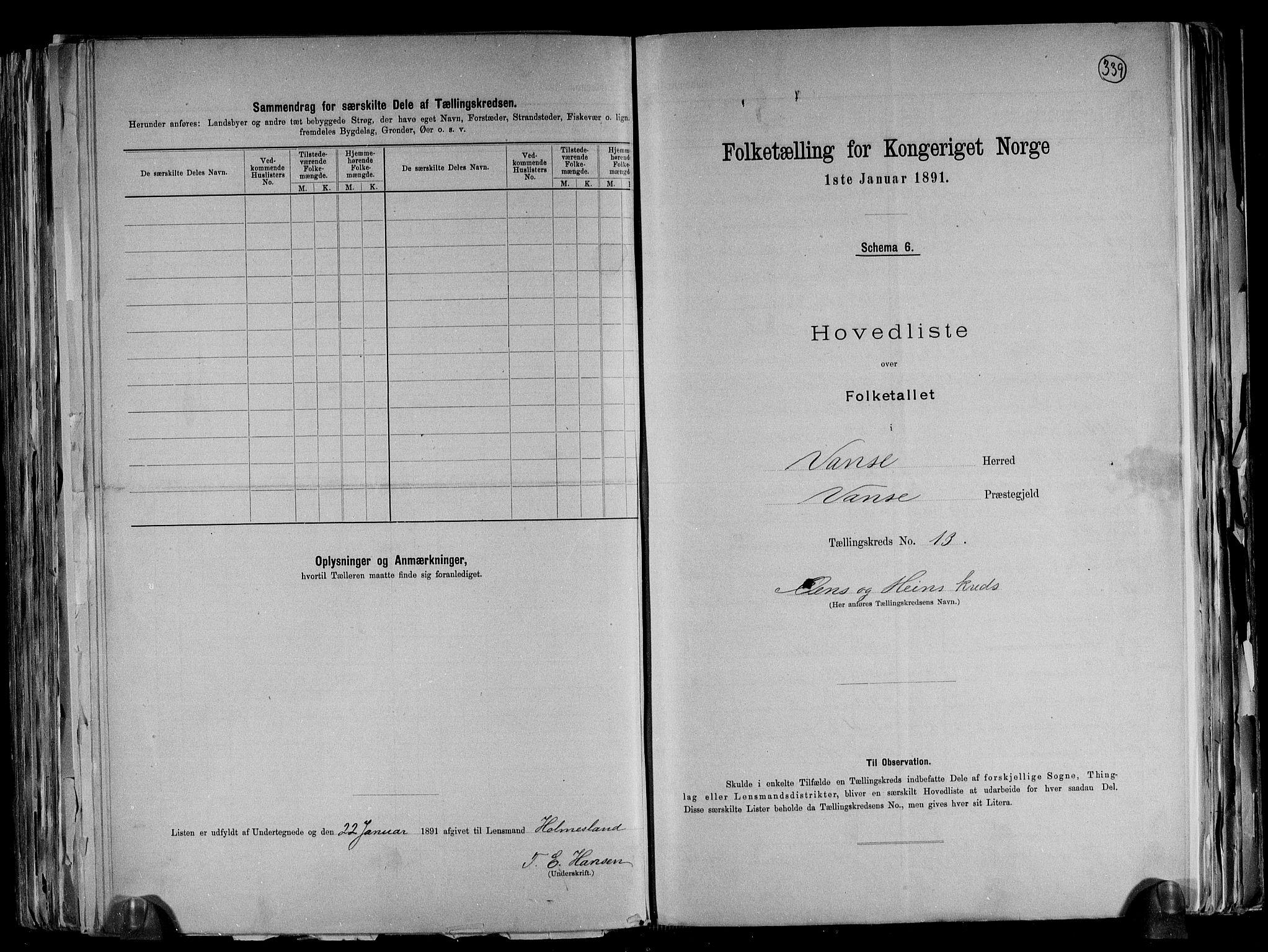 RA, Folketelling 1891 for 1041 Vanse herred, 1891, s. 46