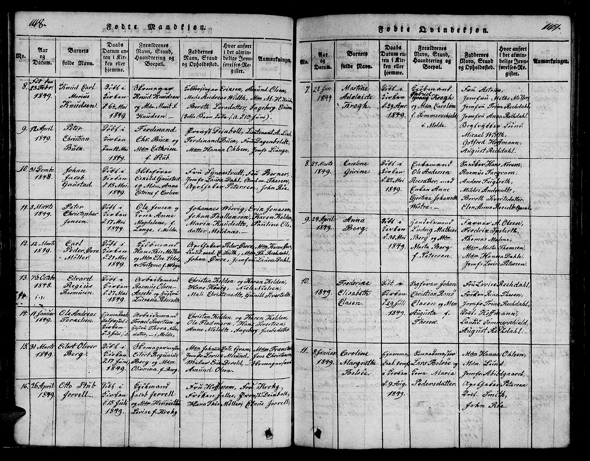 SAT, Ministerialprotokoller, klokkerbøker og fødselsregistre - Møre og Romsdal, 558/L0700: Klokkerbok nr. 558C01, 1818-1868, s. 148-149