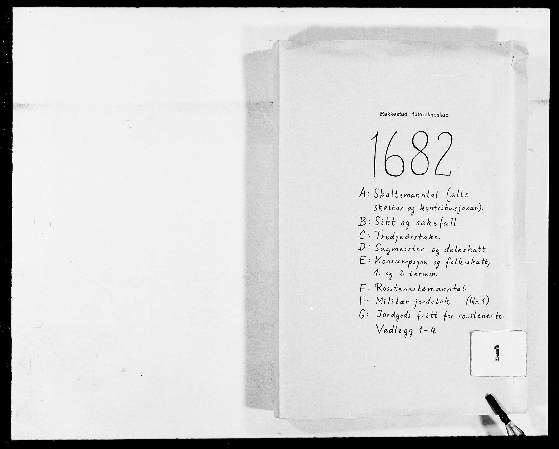 RA, Rentekammeret inntil 1814, Reviderte regnskaper, Fogderegnskap, R05/L0273: Fogderegnskap Rakkestad, 1682, s. 1