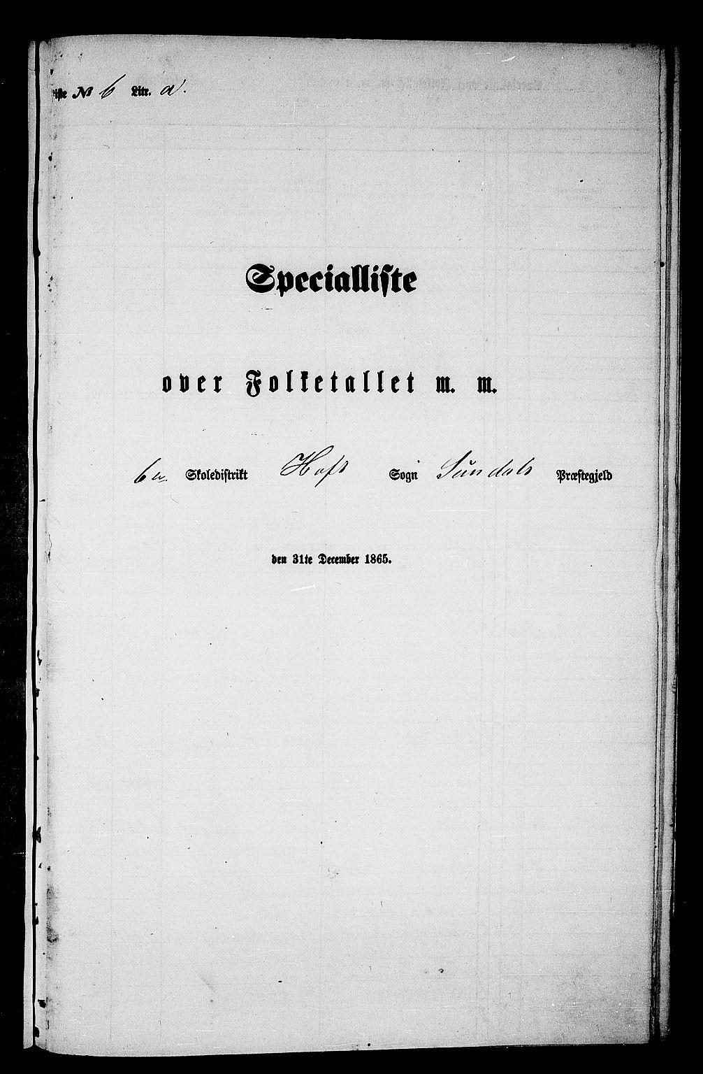 RA, Folketelling 1865 for 1563P Sunndal prestegjeld, 1865, s. 77