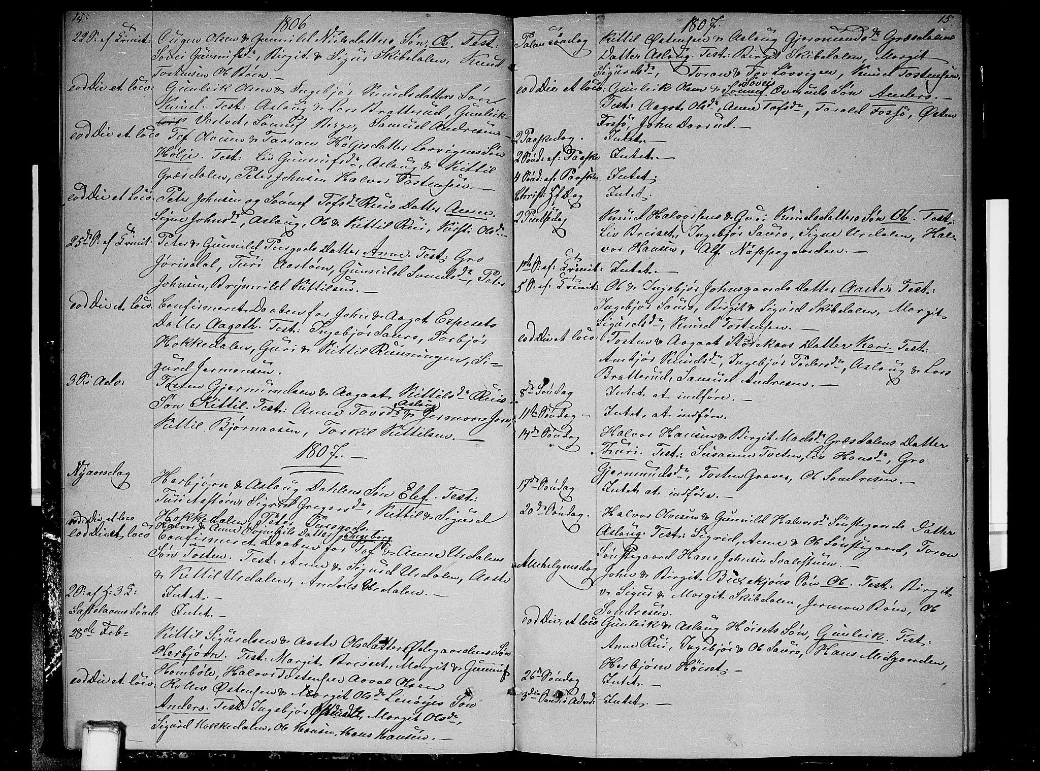 SAKO, Gransherad kirkebøker, F/Fb/L0001: Ministerialbok nr. II 1, 1800-1814, s. 14-15