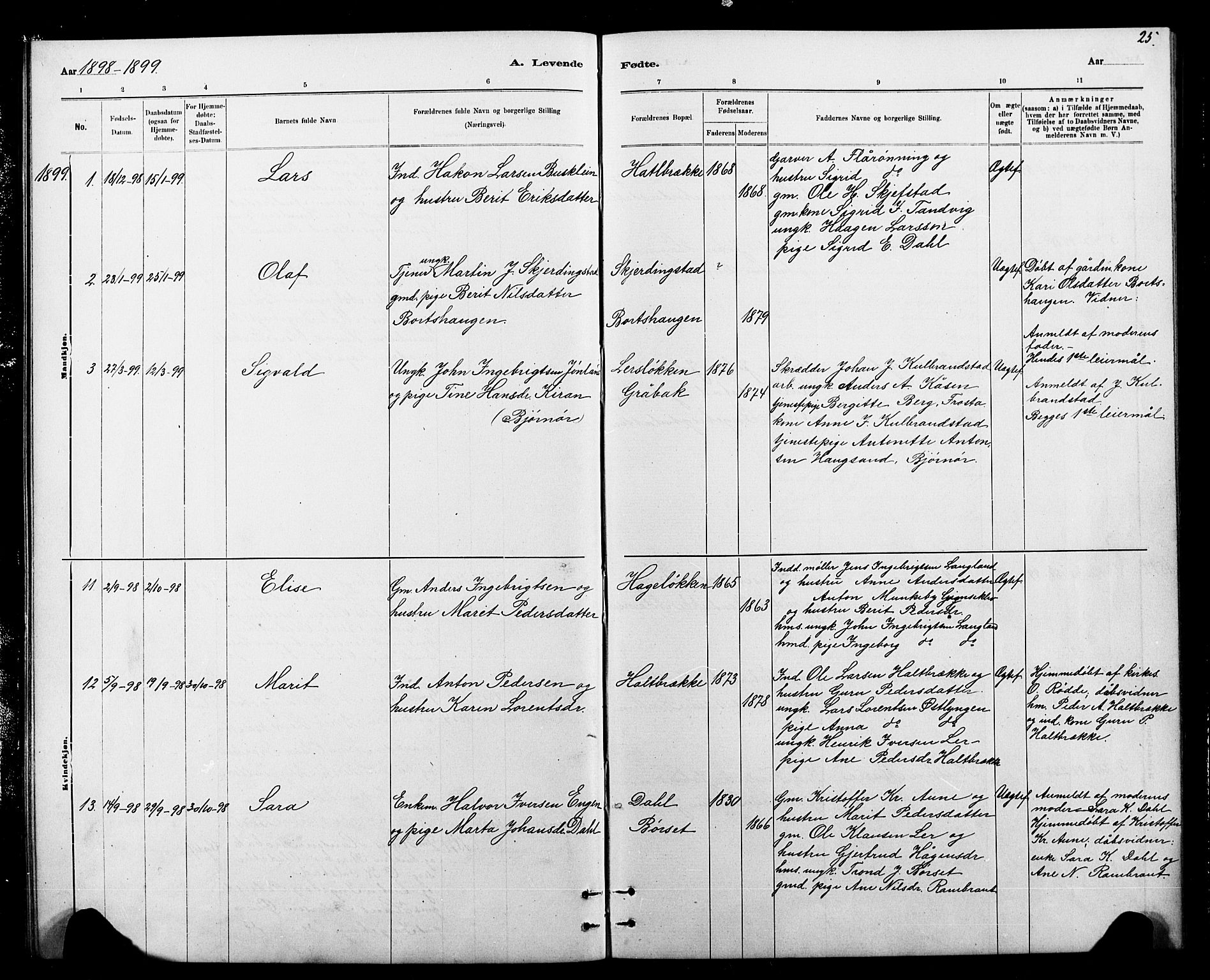 SAT, Ministerialprotokoller, klokkerbøker og fødselsregistre - Sør-Trøndelag, 693/L1123: Klokkerbok nr. 693C04, 1887-1910, s. 25
