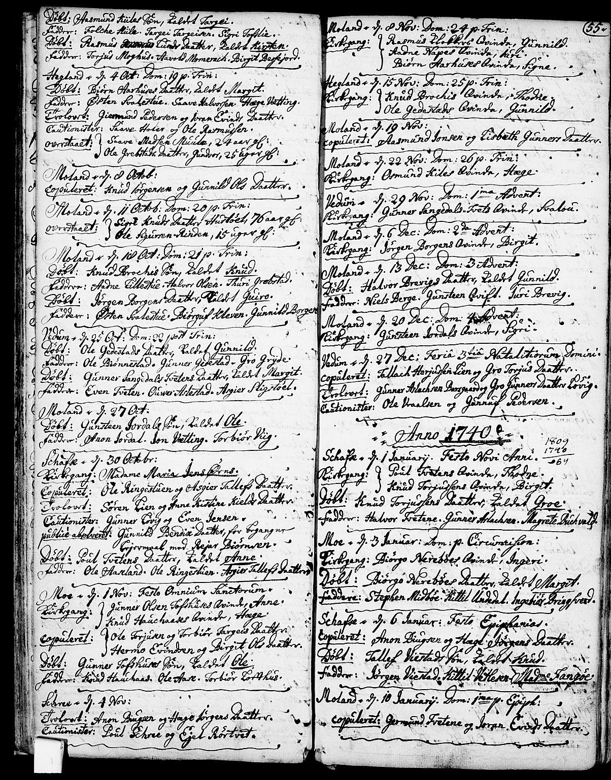 SAKO, Fyresdal kirkebøker, F/Fa/L0001: Ministerialbok nr. I 1, 1724-1748, s. 55