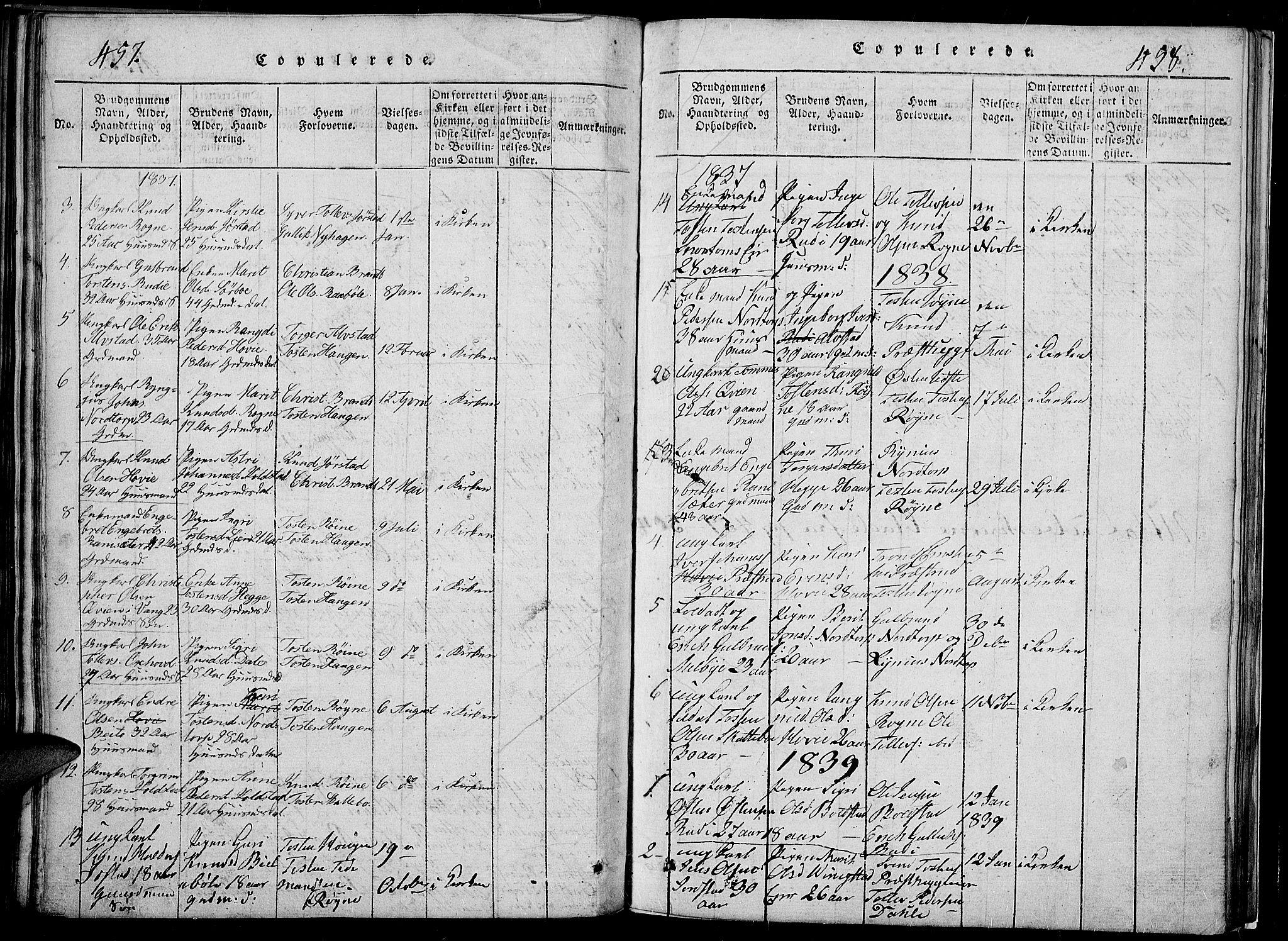 SAH, Slidre prestekontor, Klokkerbok nr. 2, 1814-1839, s. 457-458