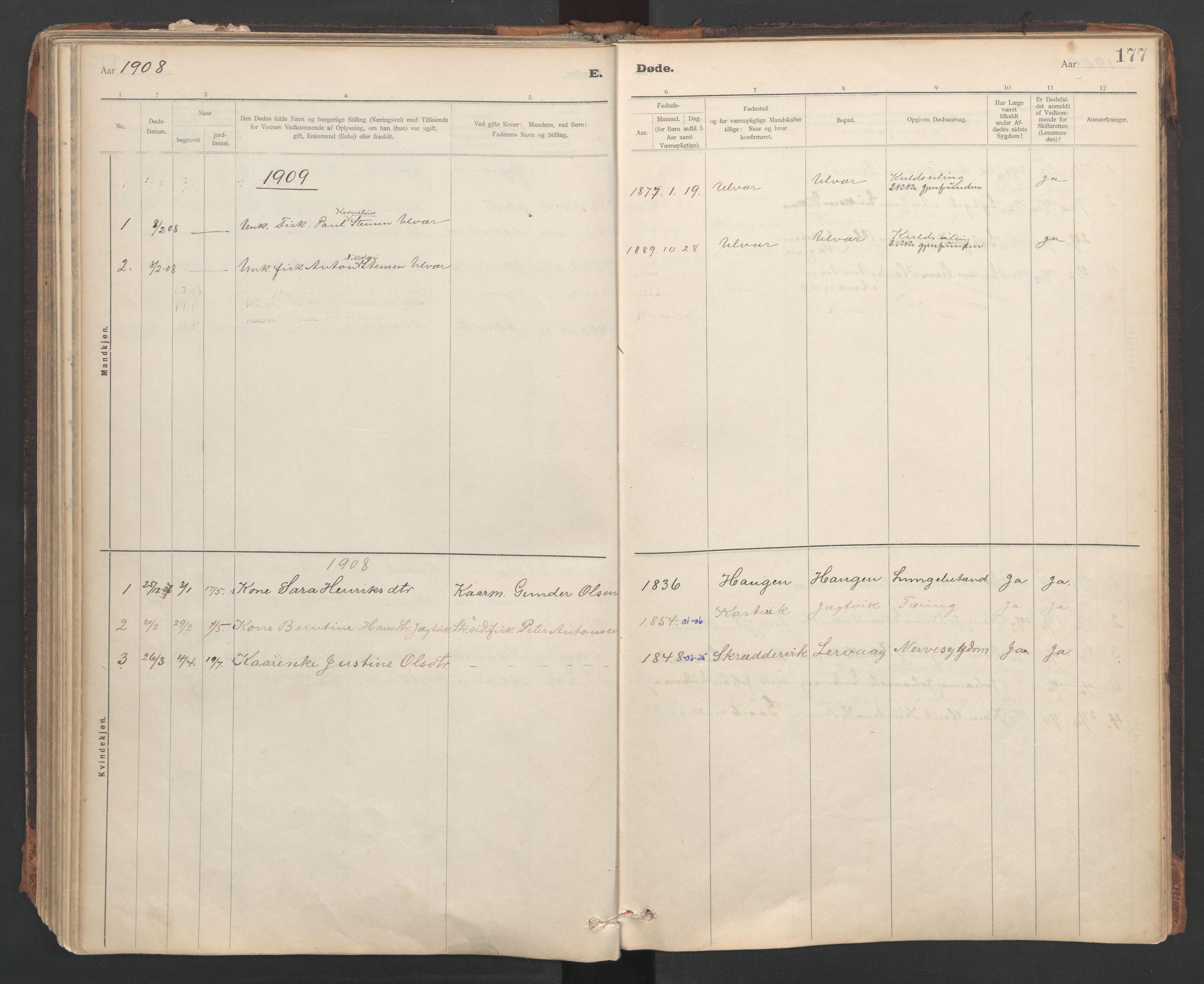 SAT, Ministerialprotokoller, klokkerbøker og fødselsregistre - Sør-Trøndelag, 637/L0559: Ministerialbok nr. 637A02, 1899-1923, s. 177
