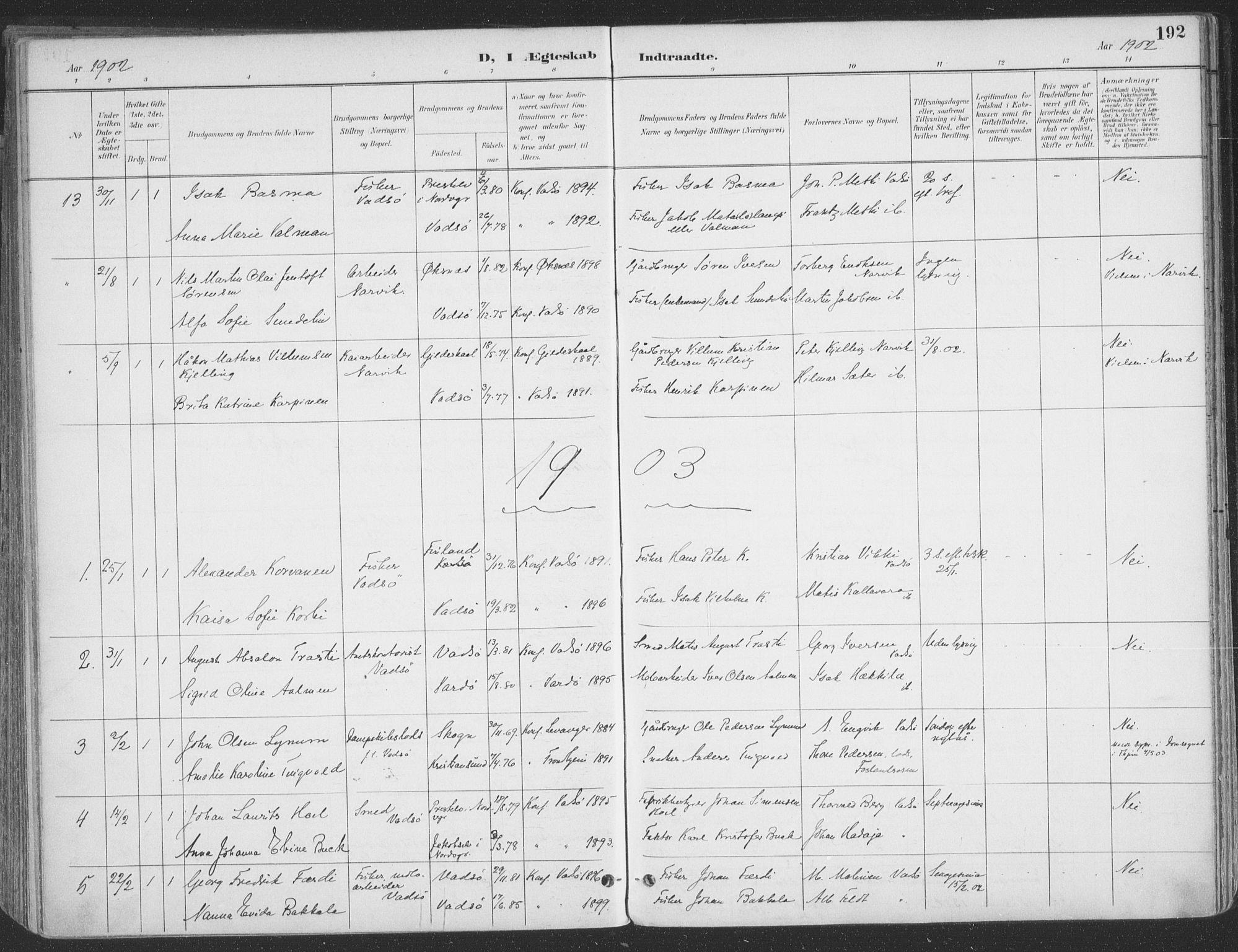 SATØ, Vadsø sokneprestkontor, H/Ha/L0007kirke: Ministerialbok nr. 7, 1896-1916, s. 192