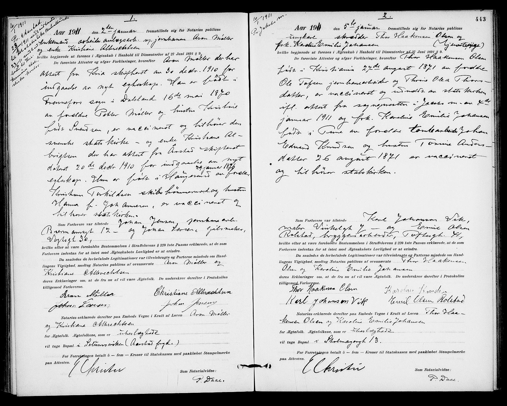 SAO, Oslo byfogd avd. I, L/Lb/Lbb/L0007: Notarialprotokoll, rekke II: Vigsler, 1907-1911, s. 442b-443a