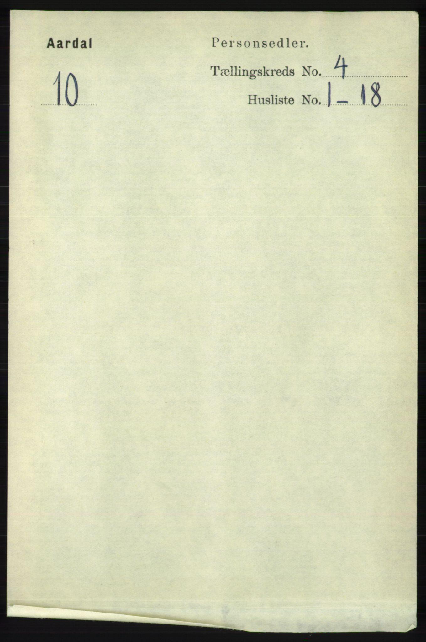 RA, Folketelling 1891 for 1131 Årdal herred, 1891, s. 1090