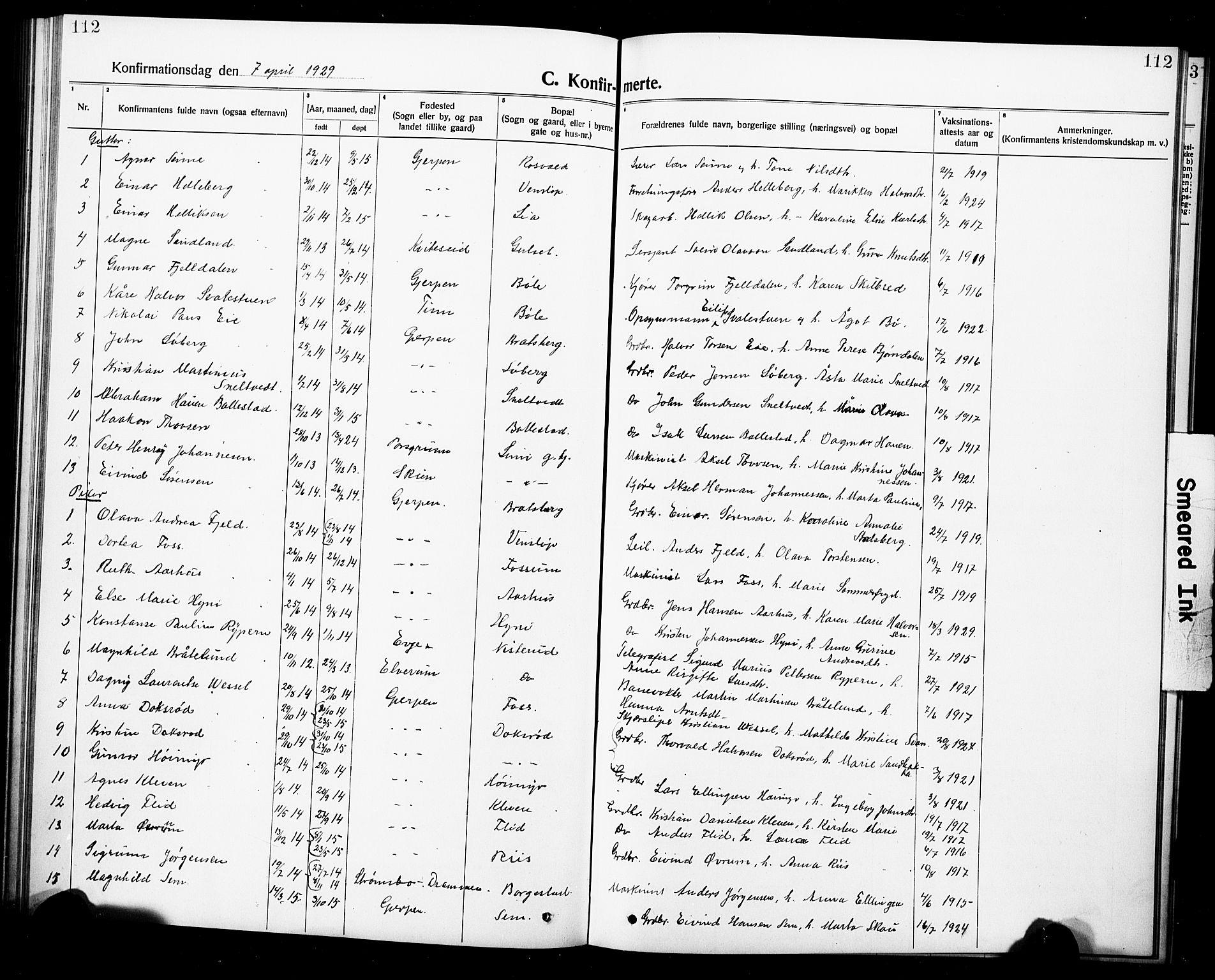 SAKO, Gjerpen kirkebøker, G/Ga/L0004: Klokkerbok nr. I 4, 1920-1931, s. 112