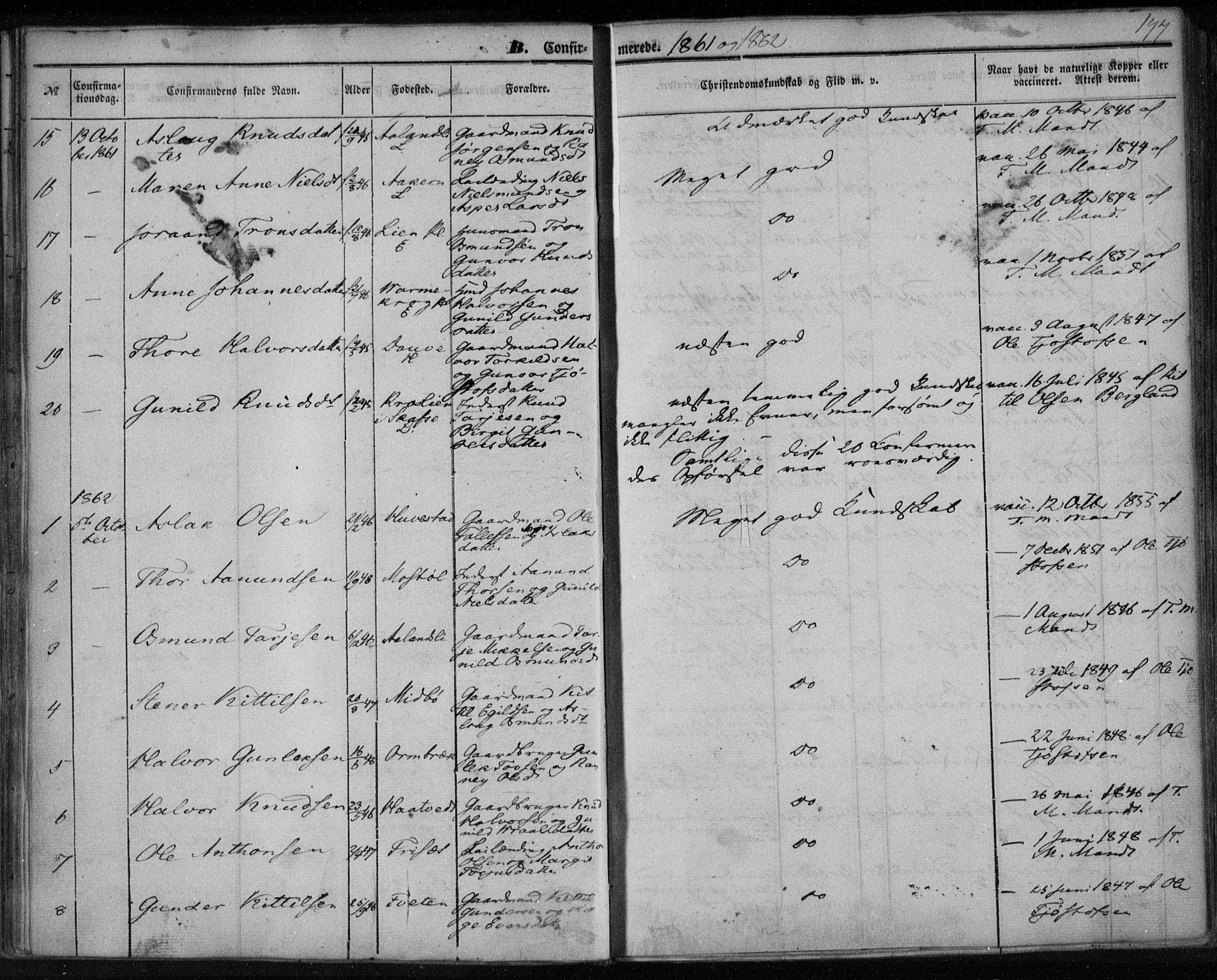 SAKO, Lårdal kirkebøker, F/Fa/L0006: Ministerialbok nr. I 6, 1861-1886, s. 147